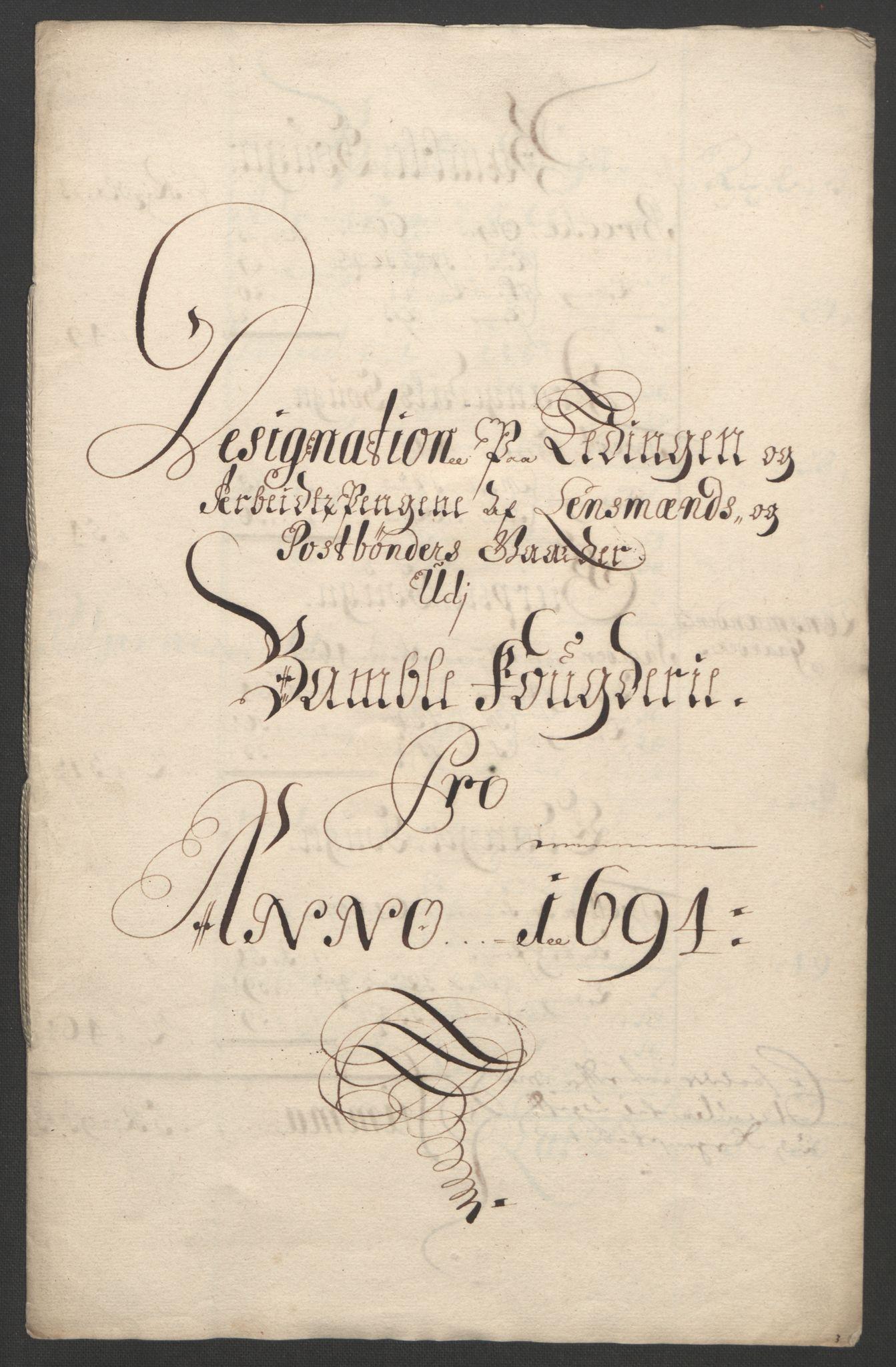 RA, Rentekammeret inntil 1814, Reviderte regnskaper, Fogderegnskap, R36/L2092: Fogderegnskap Øvre og Nedre Telemark og Bamble, 1694, s. 242
