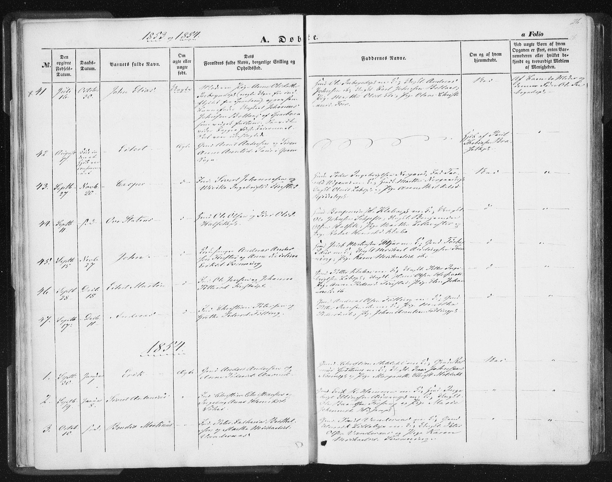 SAT, Ministerialprotokoller, klokkerbøker og fødselsregistre - Nord-Trøndelag, 746/L0446: Ministerialbok nr. 746A05, 1846-1859, s. 26