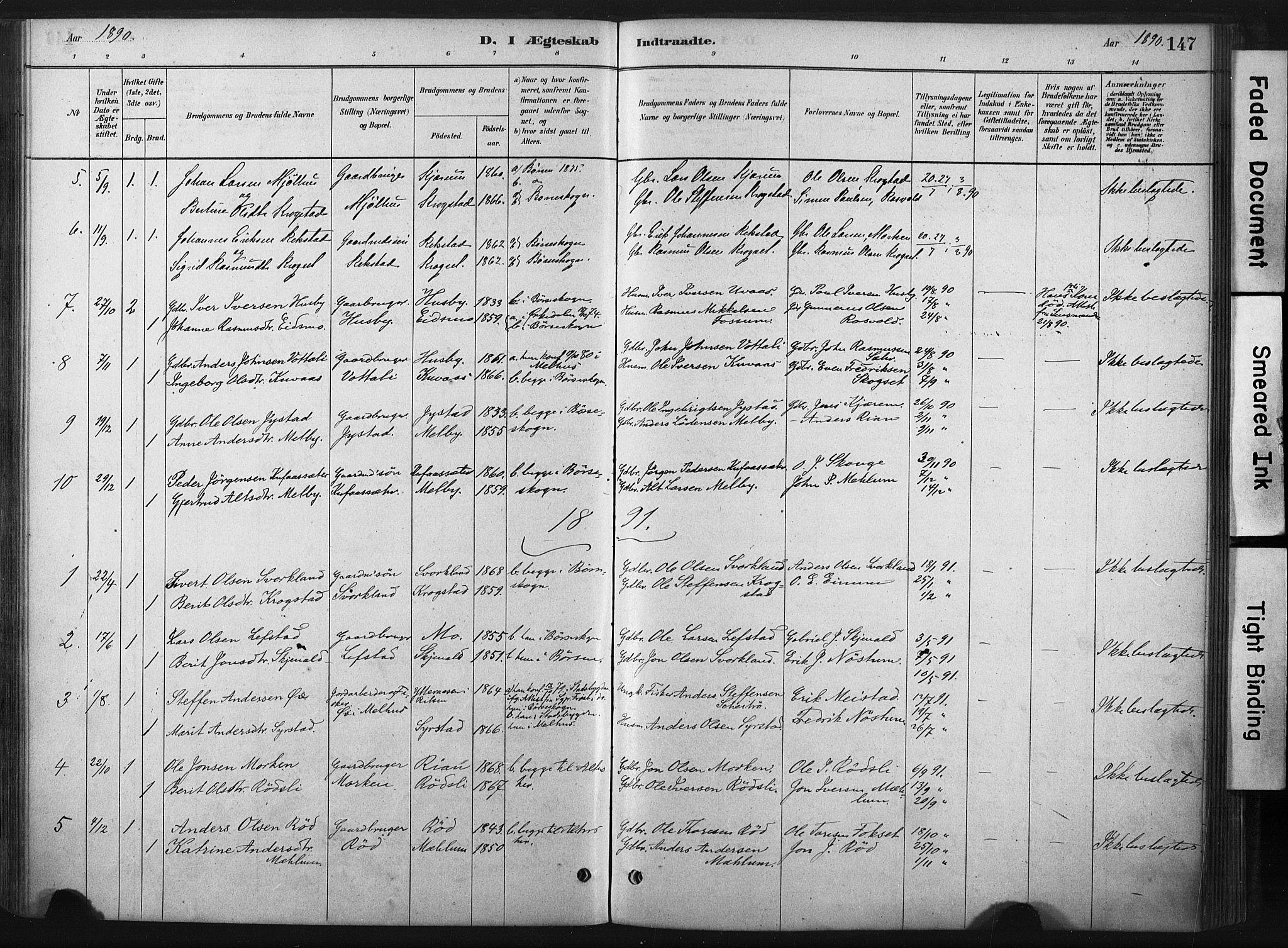 SAT, Ministerialprotokoller, klokkerbøker og fødselsregistre - Sør-Trøndelag, 667/L0795: Ministerialbok nr. 667A03, 1879-1907, s. 147