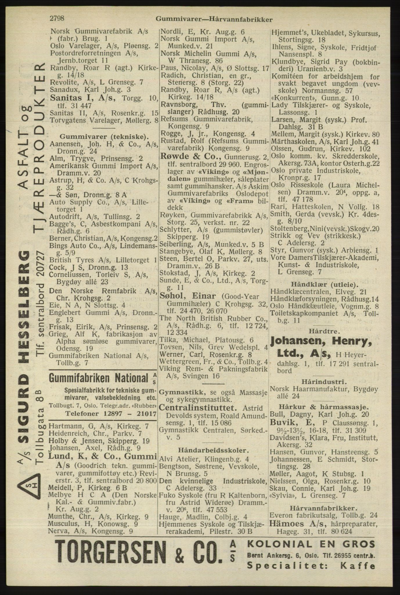 RA, Oslo adressebok (publikasjon)*, 1940, s. 2798