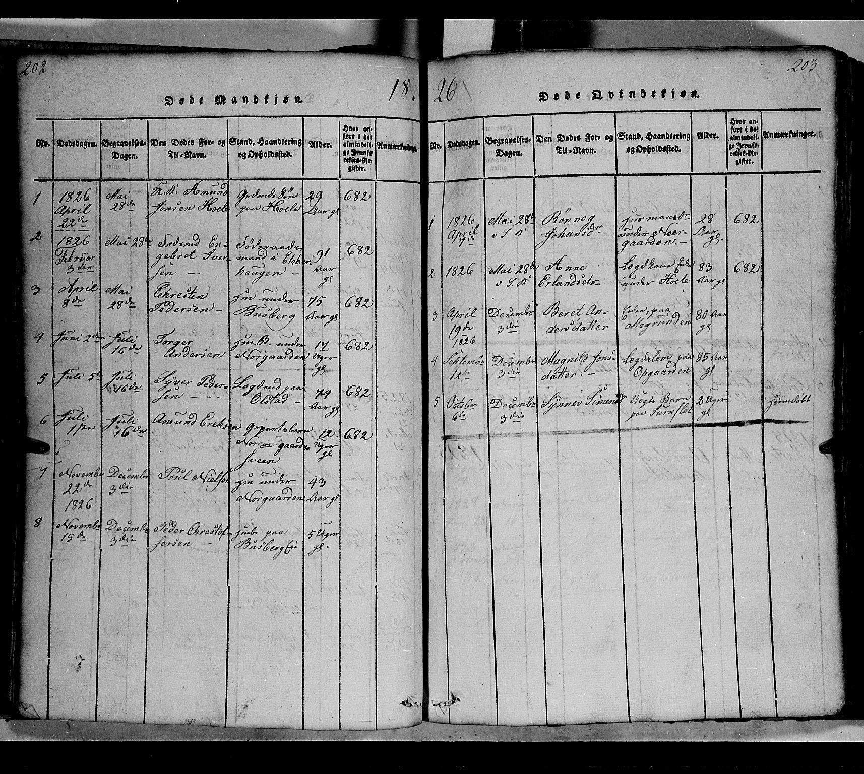 SAH, Gausdal prestekontor, Klokkerbok nr. 2, 1818-1874, s. 202-203
