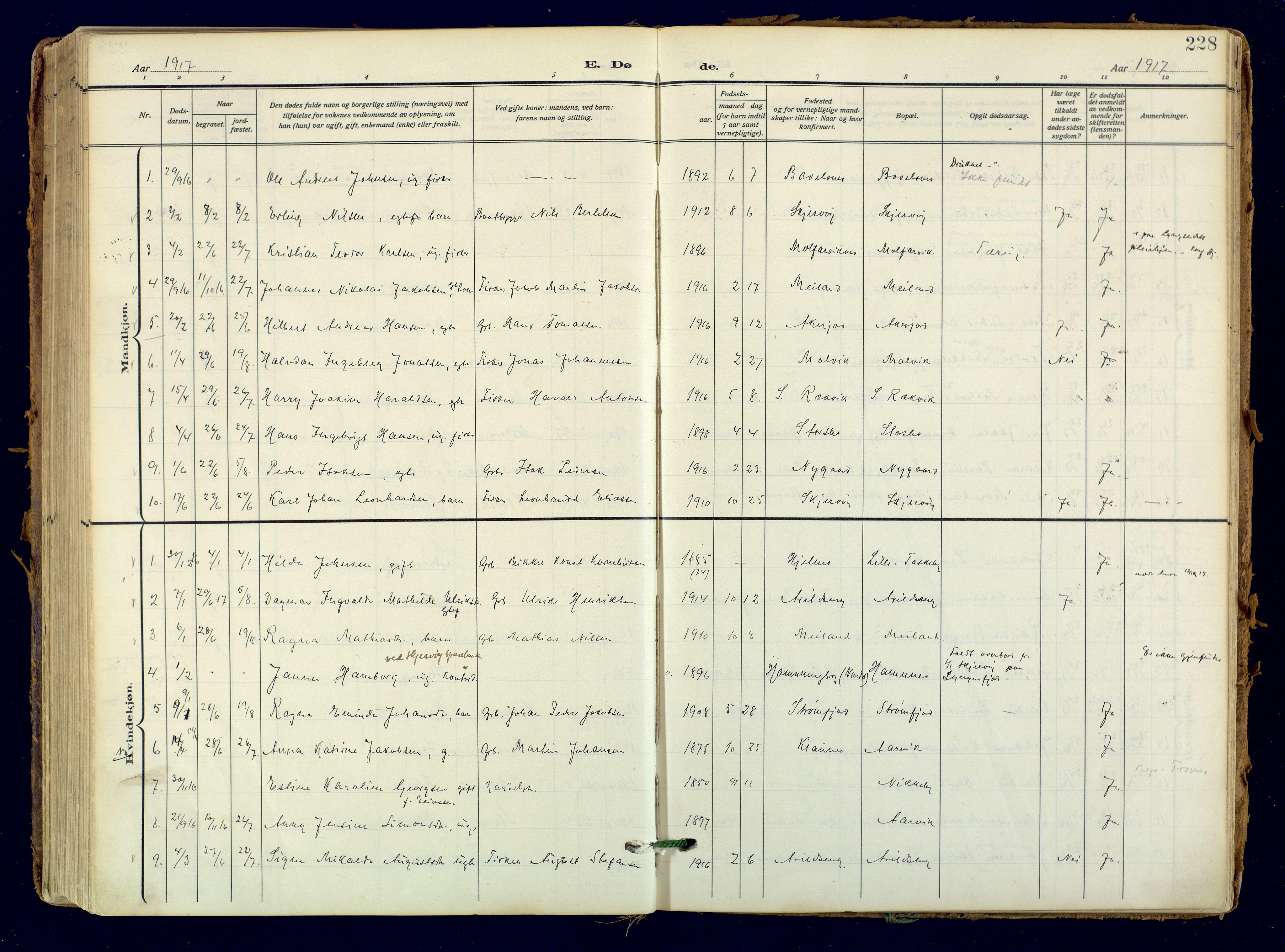 SATØ, Skjervøy sokneprestkontor, H/Ha/Haa: Ministerialbok nr. 18, 1910-1926, s. 228