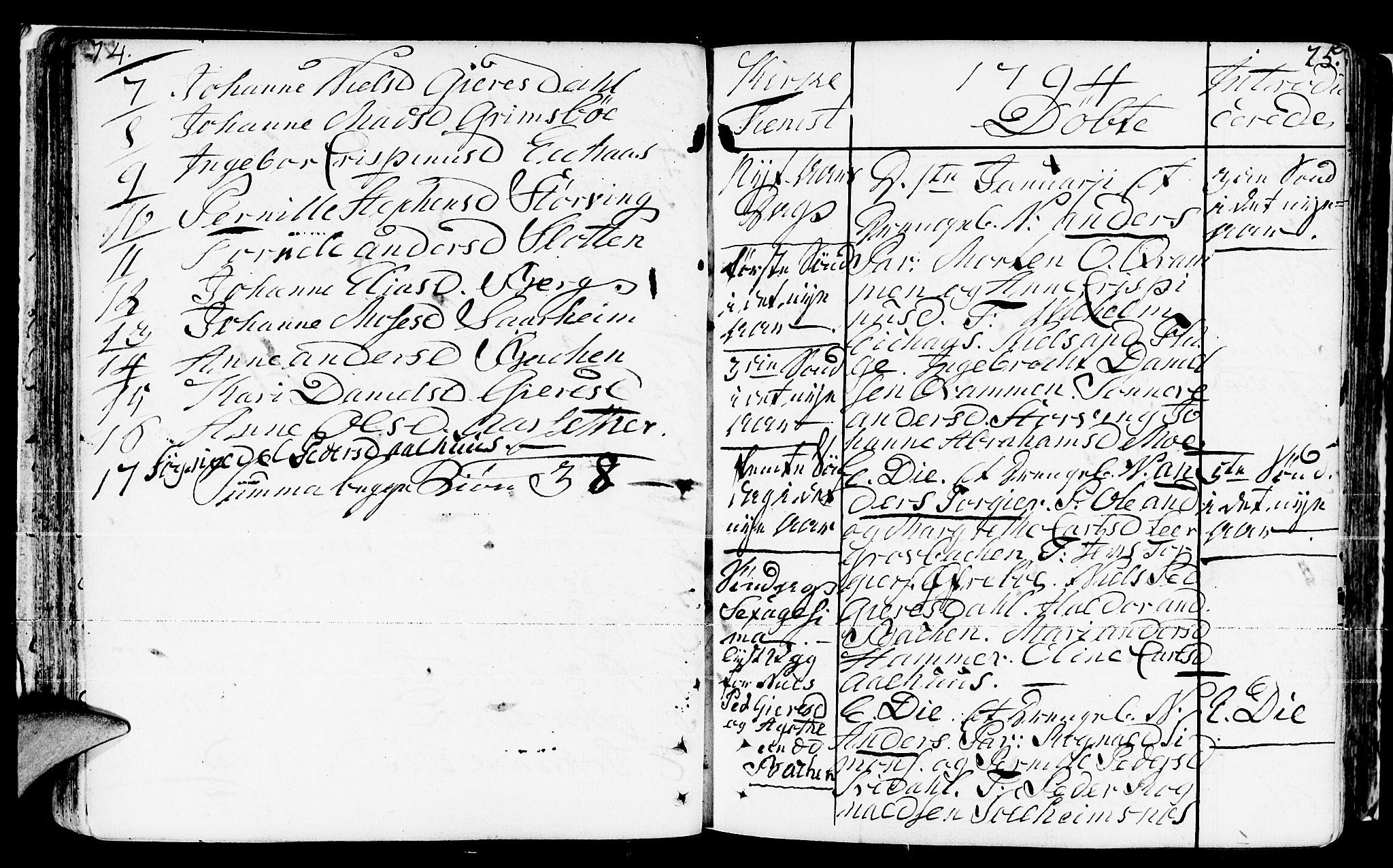 SAB, Jølster Sokneprestembete, H/Haa/Haaa/L0005: Ministerialbok nr. A 5, 1790-1821, s. 74-75