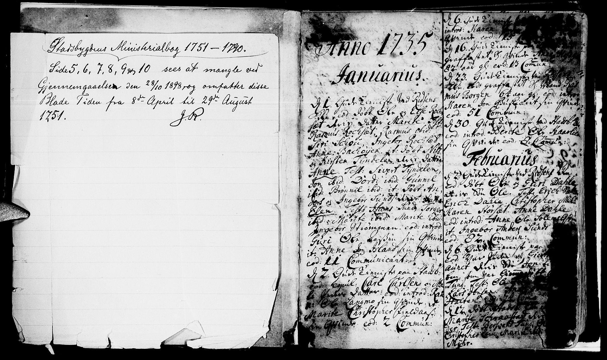 SAT, Ministerialprotokoller, klokkerbøker og fødselsregistre - Sør-Trøndelag, 646/L0604: Ministerialbok nr. 646A02, 1735-1750, s. 0-1
