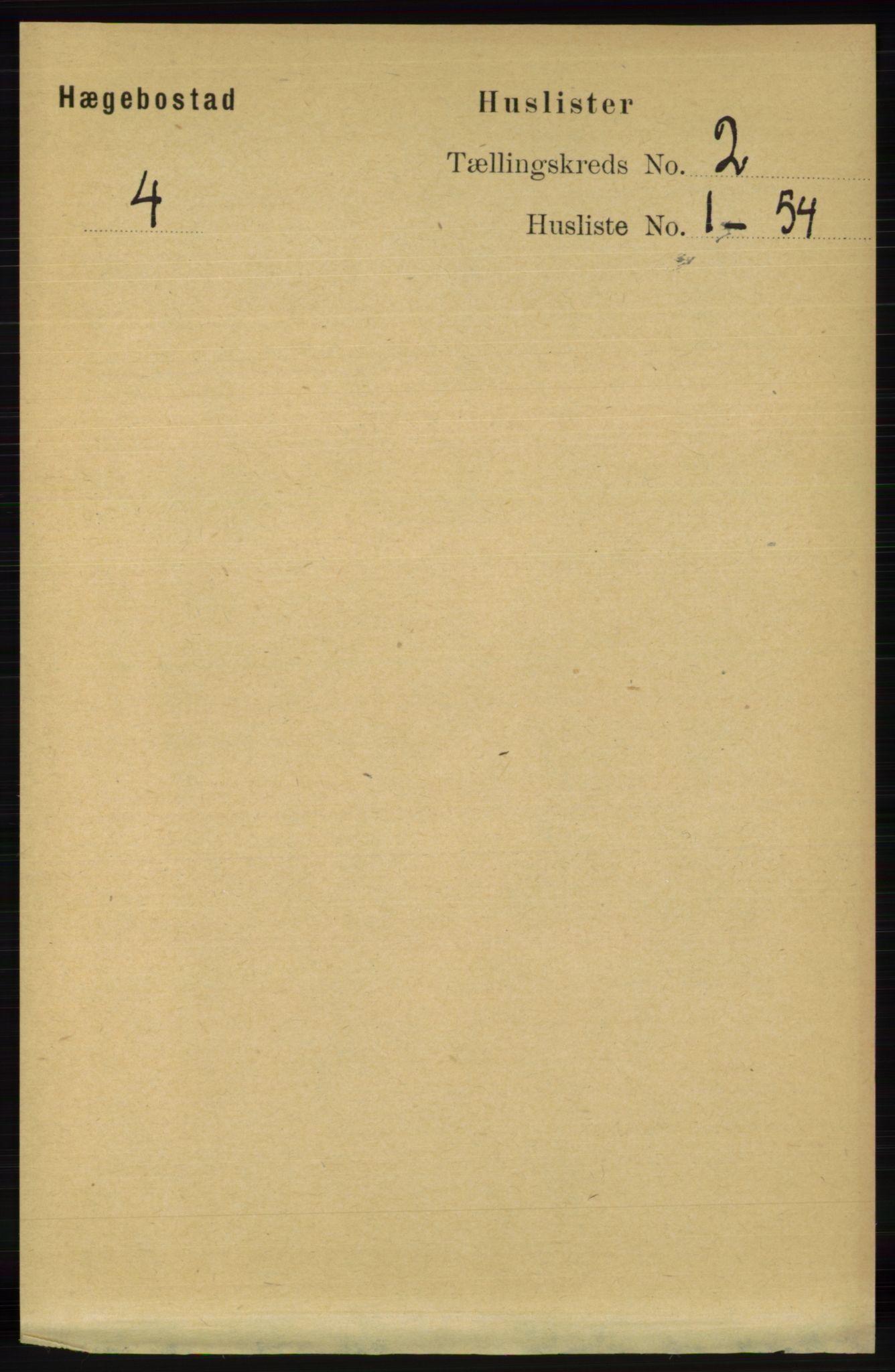 RA, Folketelling 1891 for 1034 Hægebostad herred, 1891, s. 435