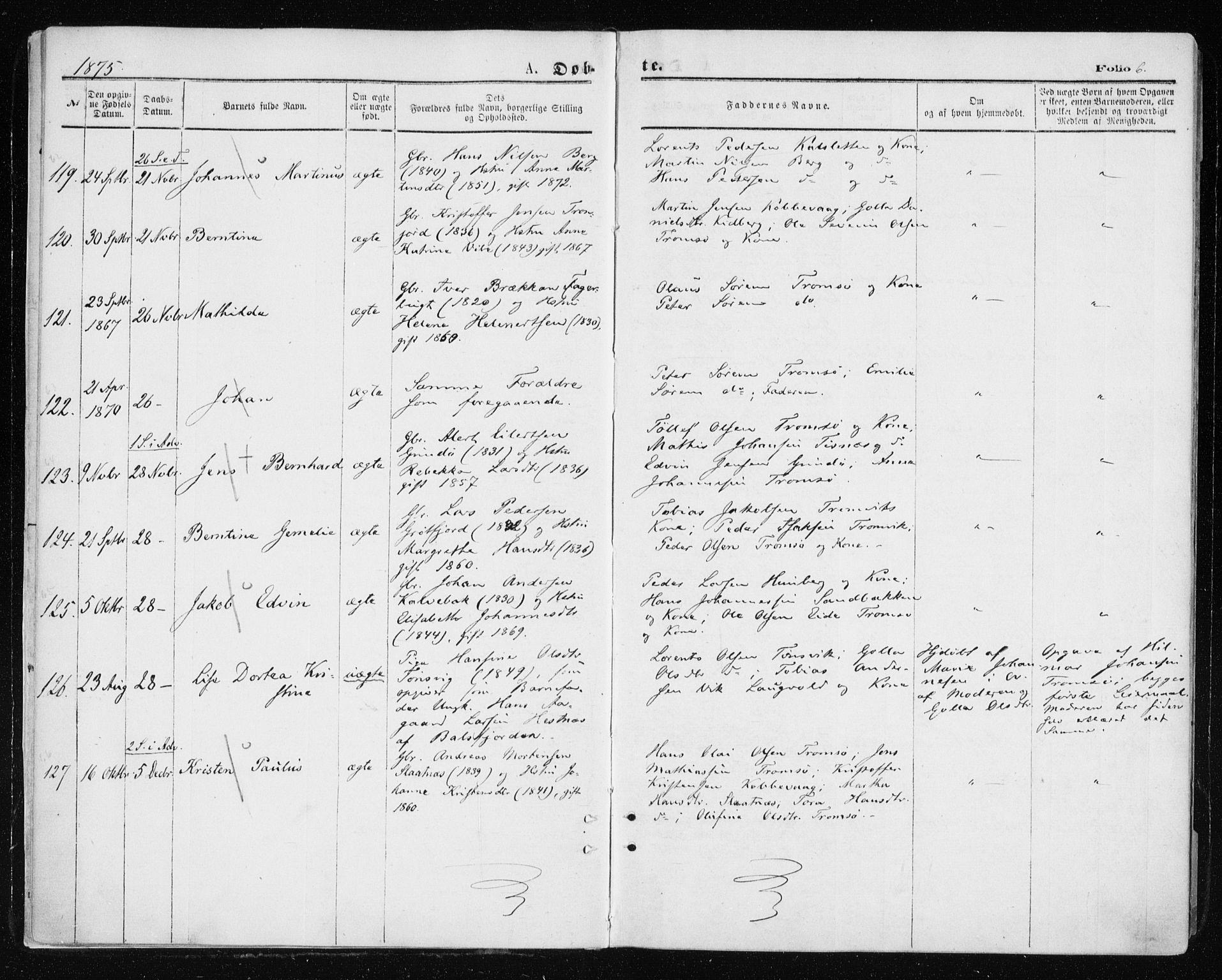 SATØ, Tromsøysund sokneprestkontor, G/Ga/L0003kirke: Ministerialbok nr. 3, 1875-1880, s. 6