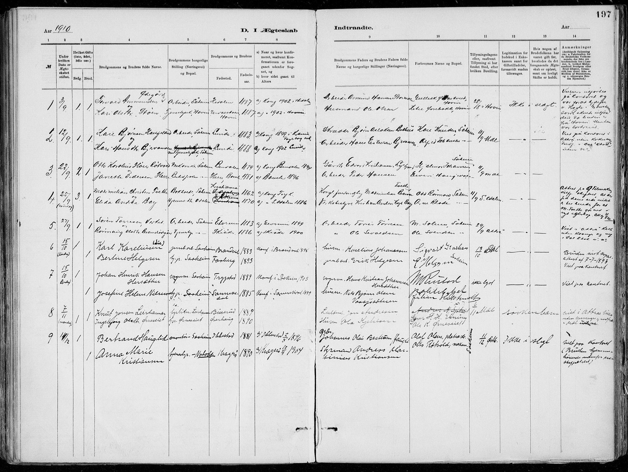 SAKO, Tinn kirkebøker, F/Fa/L0007: Ministerialbok nr. I 7, 1878-1922, s. 197
