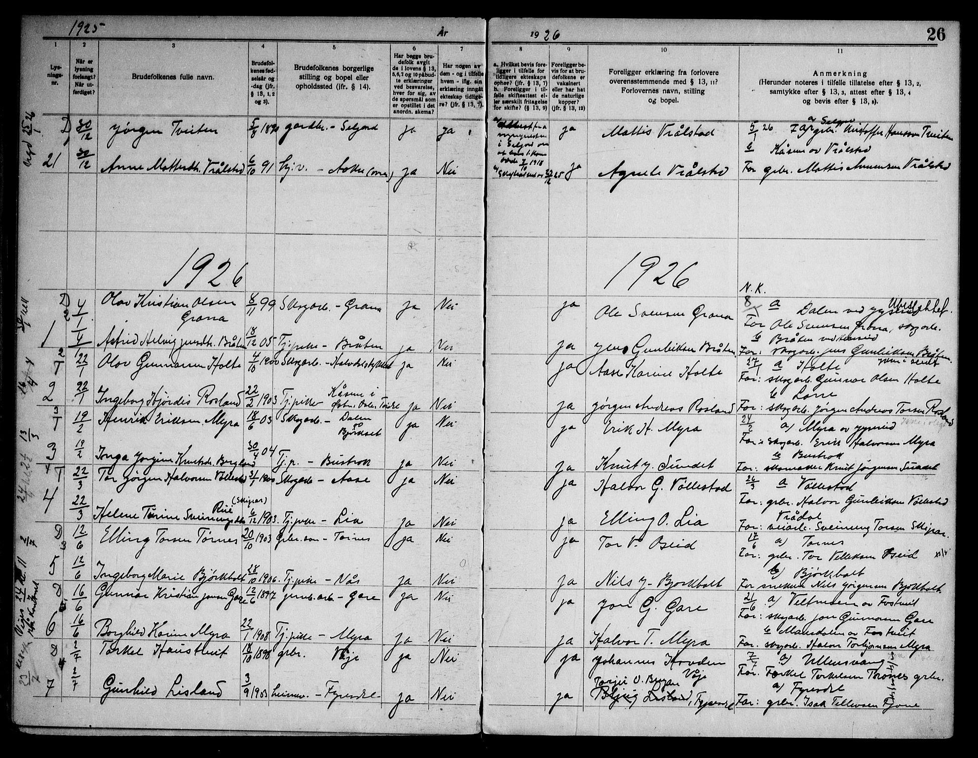 SAKO, Drangedal kirkebøker, H/Ha/L0001: Lysningsprotokoll nr. 1, 1919-1952, s. 26