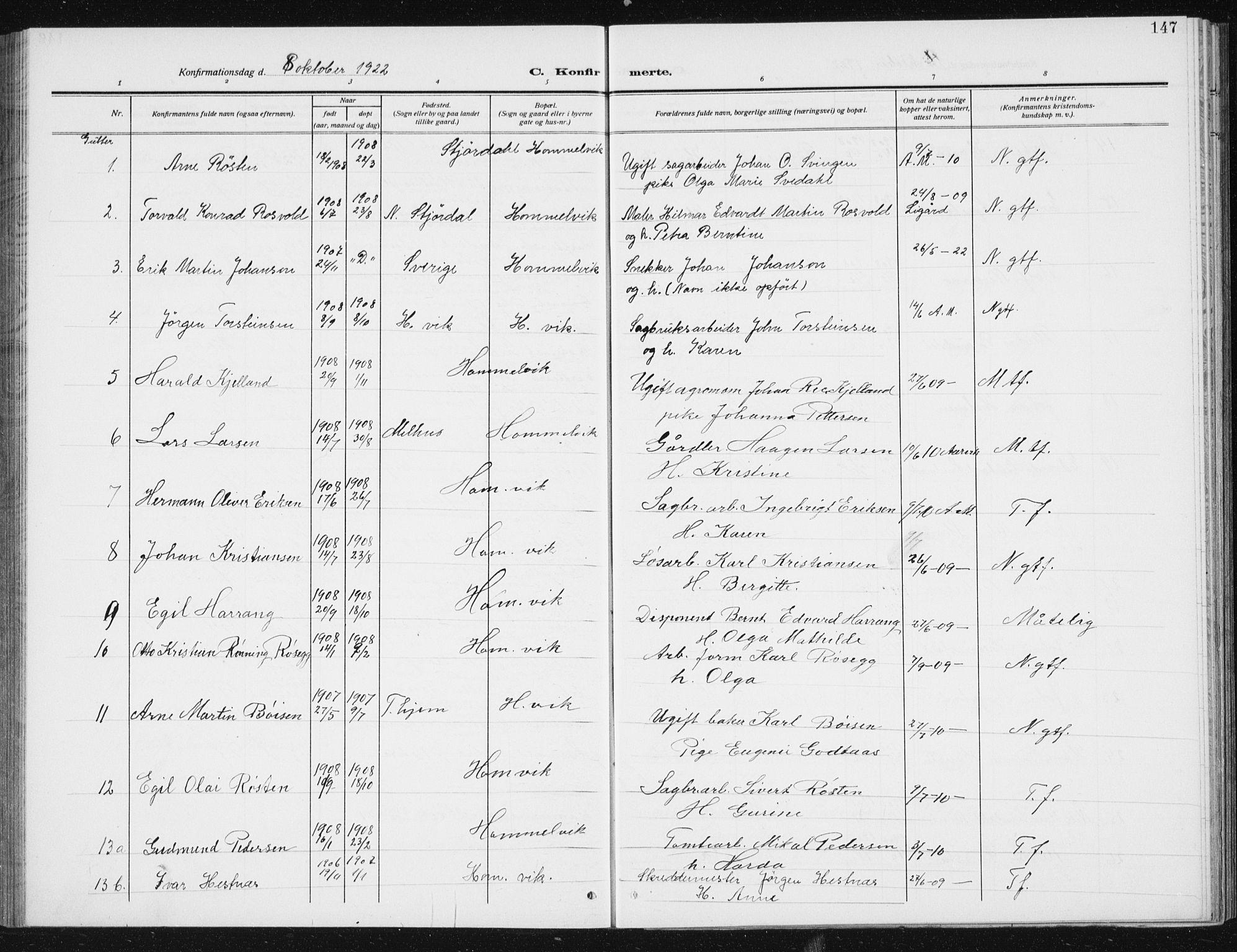 SAT, Ministerialprotokoller, klokkerbøker og fødselsregistre - Sør-Trøndelag, 617/L0431: Klokkerbok nr. 617C02, 1910-1936, s. 147