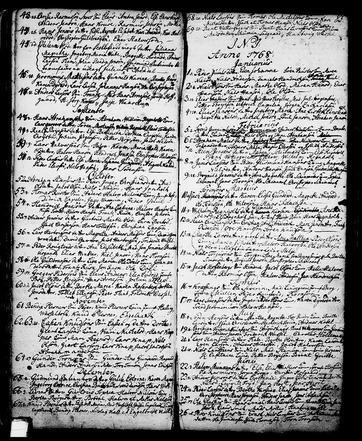 SAKO, Skien kirkebøker, G/Ga/L0001: Klokkerbok nr. 1, 1756-1791, s. 85