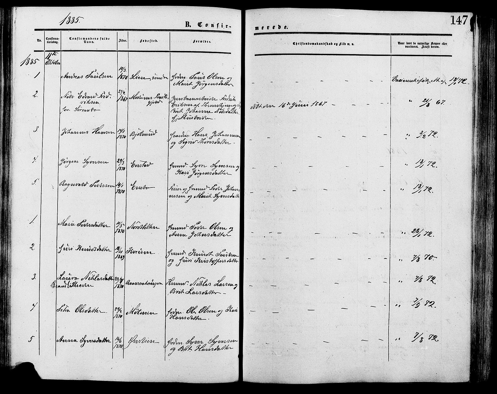 SAH, Lesja prestekontor, Ministerialbok nr. 9, 1854-1889, s. 147
