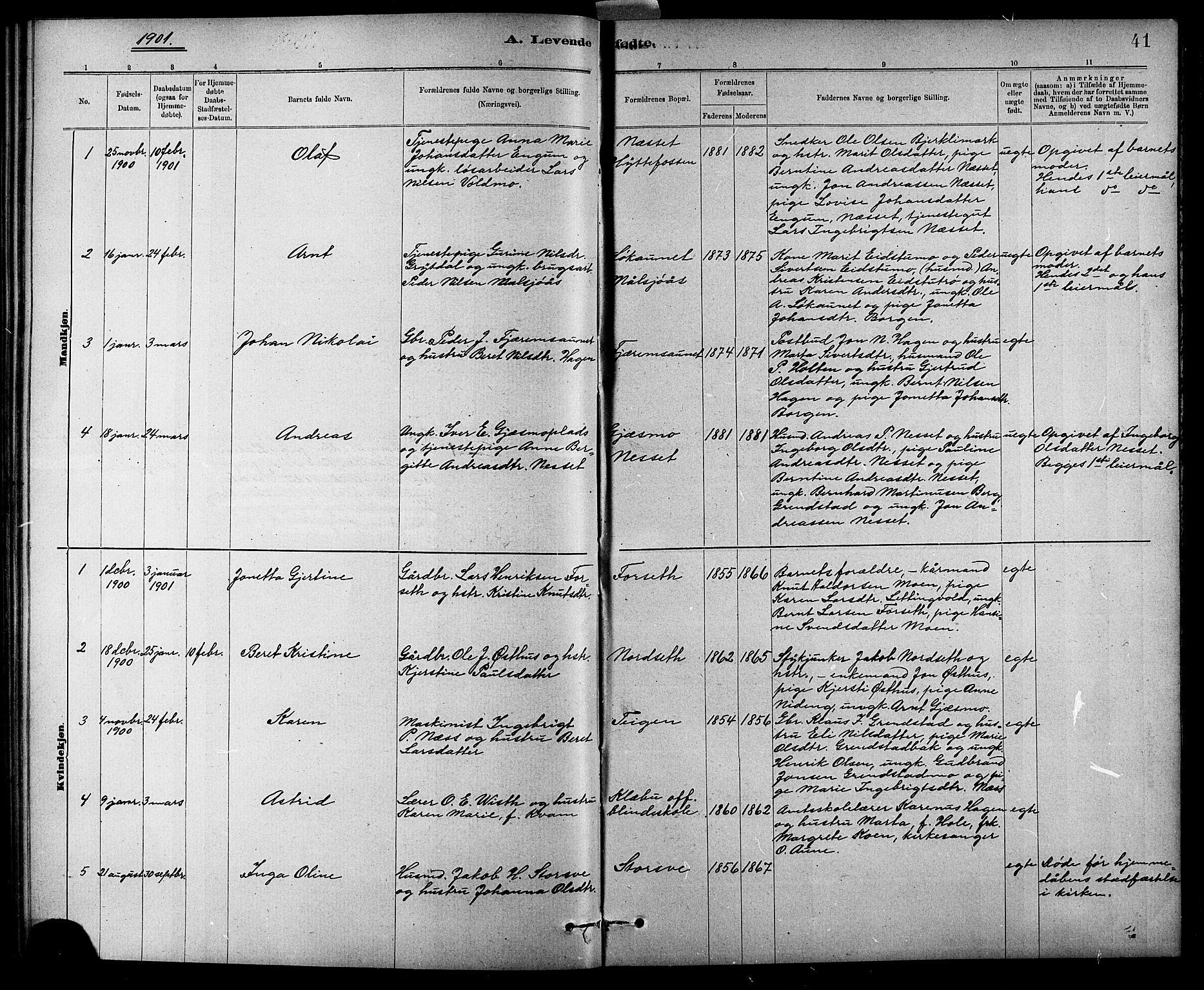 SAT, Ministerialprotokoller, klokkerbøker og fødselsregistre - Sør-Trøndelag, 618/L0452: Klokkerbok nr. 618C03, 1884-1906, s. 41