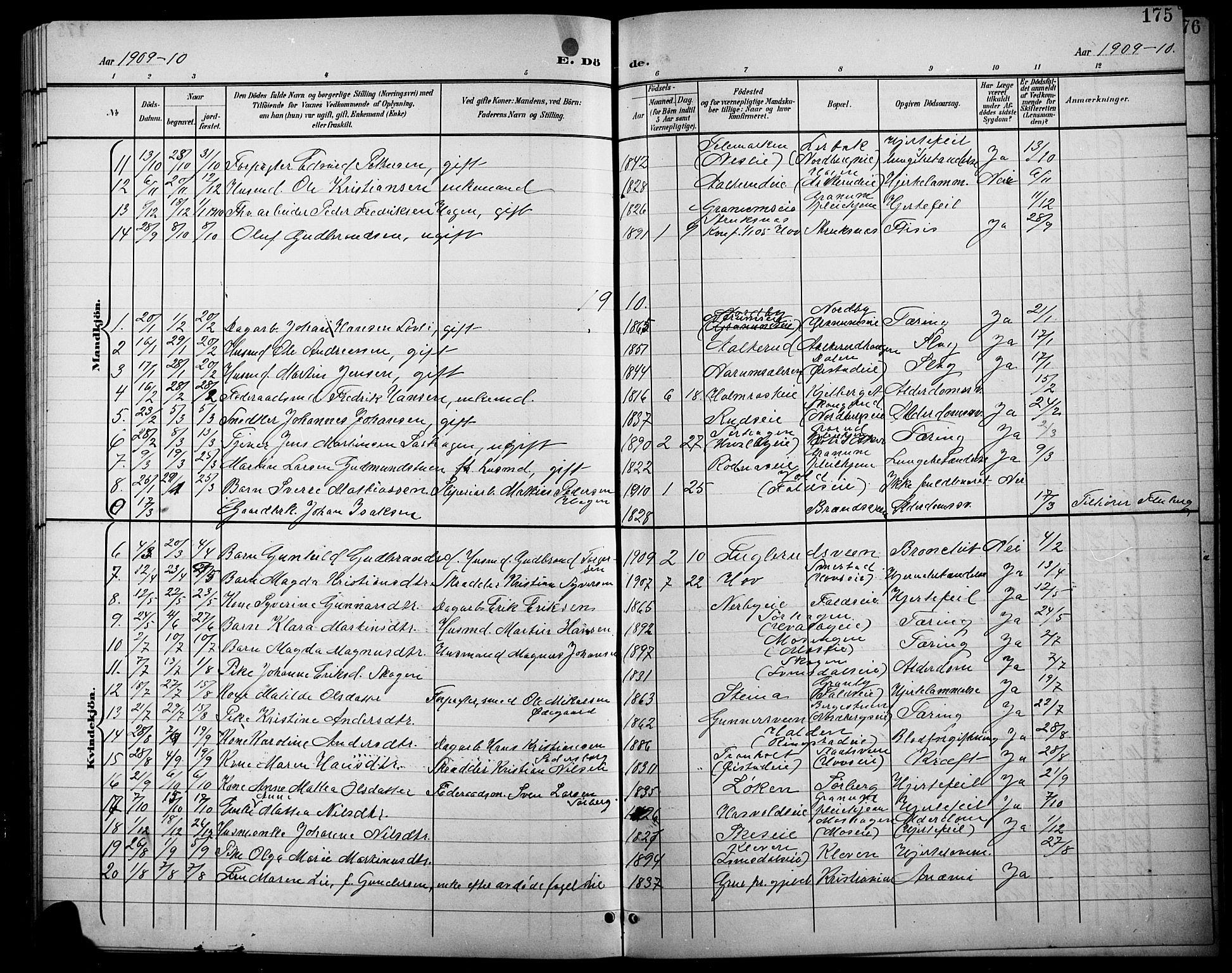 SAH, Søndre Land prestekontor, L/L0004: Klokkerbok nr. 4, 1901-1915, s. 175