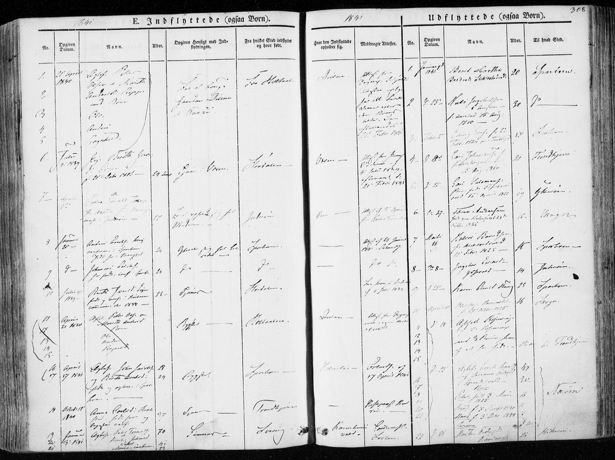 SAT, Ministerialprotokoller, klokkerbøker og fødselsregistre - Nord-Trøndelag, 723/L0239: Ministerialbok nr. 723A08, 1841-1851, s. 308
