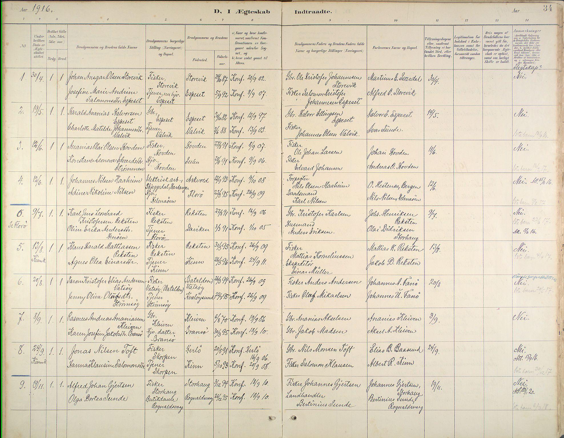 Kinn Sokneprestembete, Ministerialbok nr. B 3, 1886-1936, s. 34