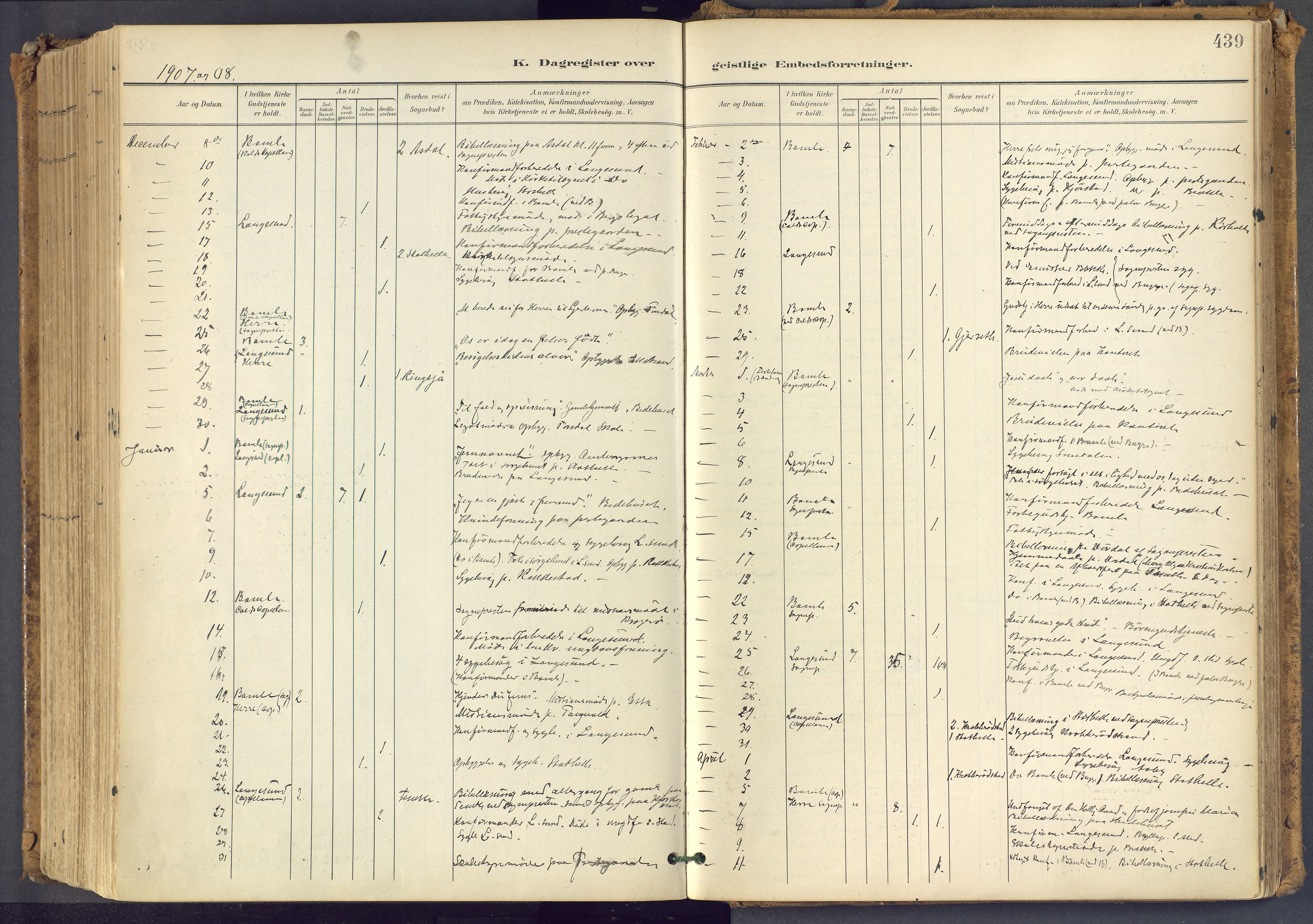 SAKO, Bamble kirkebøker, F/Fa/L0009: Ministerialbok nr. I 9, 1901-1917, s. 439