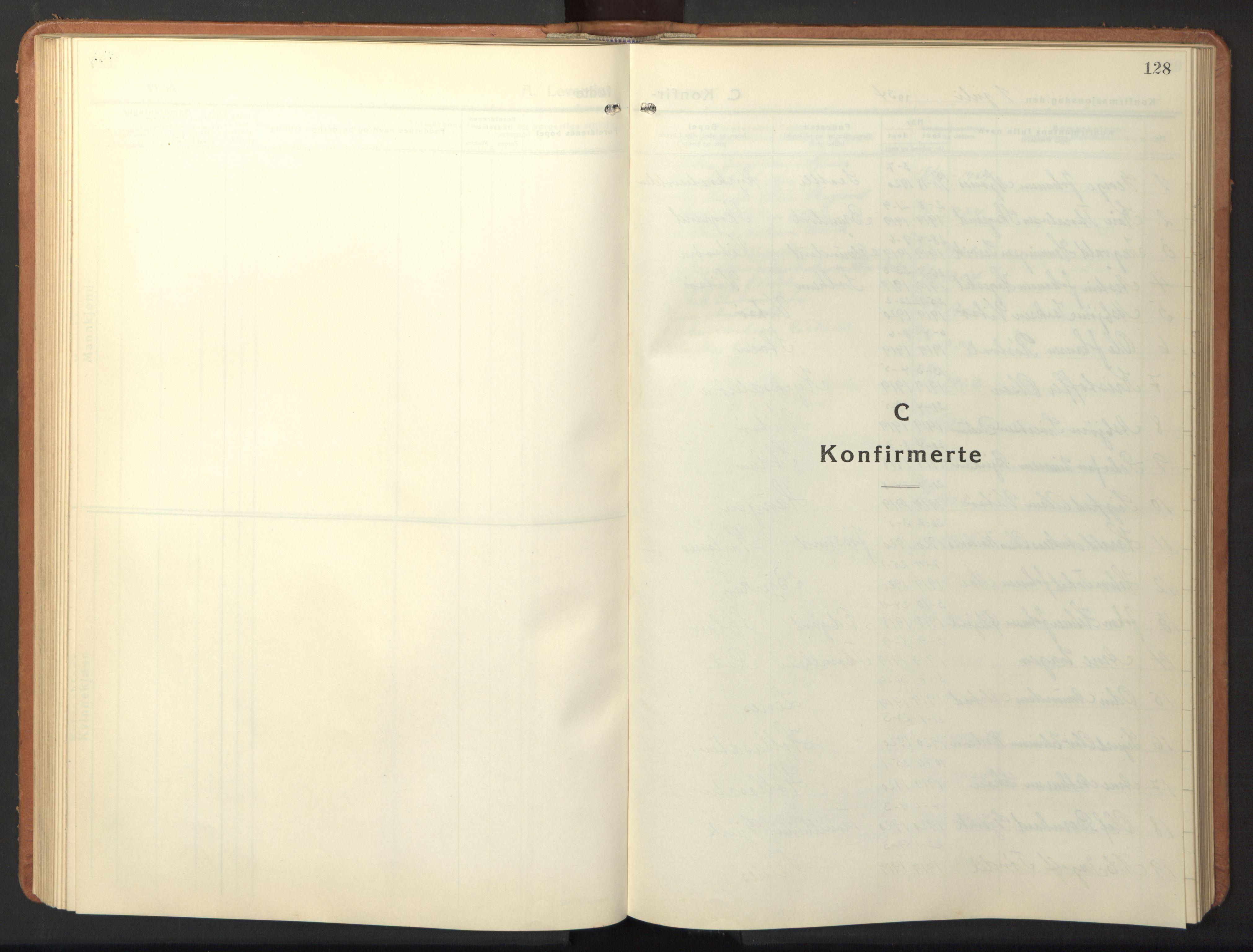 SAT, Ministerialprotokoller, klokkerbøker og fødselsregistre - Sør-Trøndelag, 630/L0508: Klokkerbok nr. 630C06, 1933-1950, s. 128