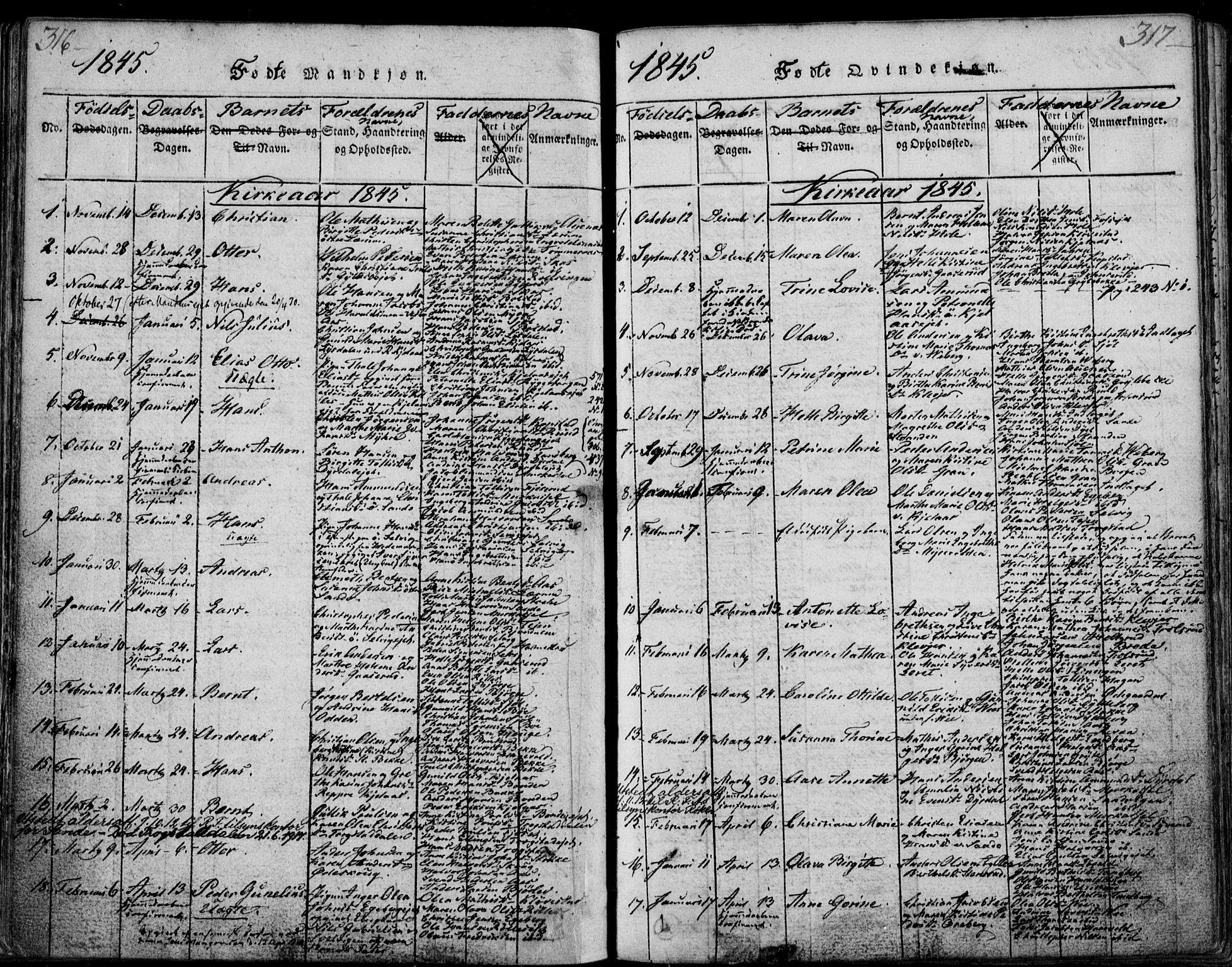 SAKO, Sande Kirkebøker, F/Fa/L0003: Ministerialbok nr. 3, 1814-1847, s. 316-317