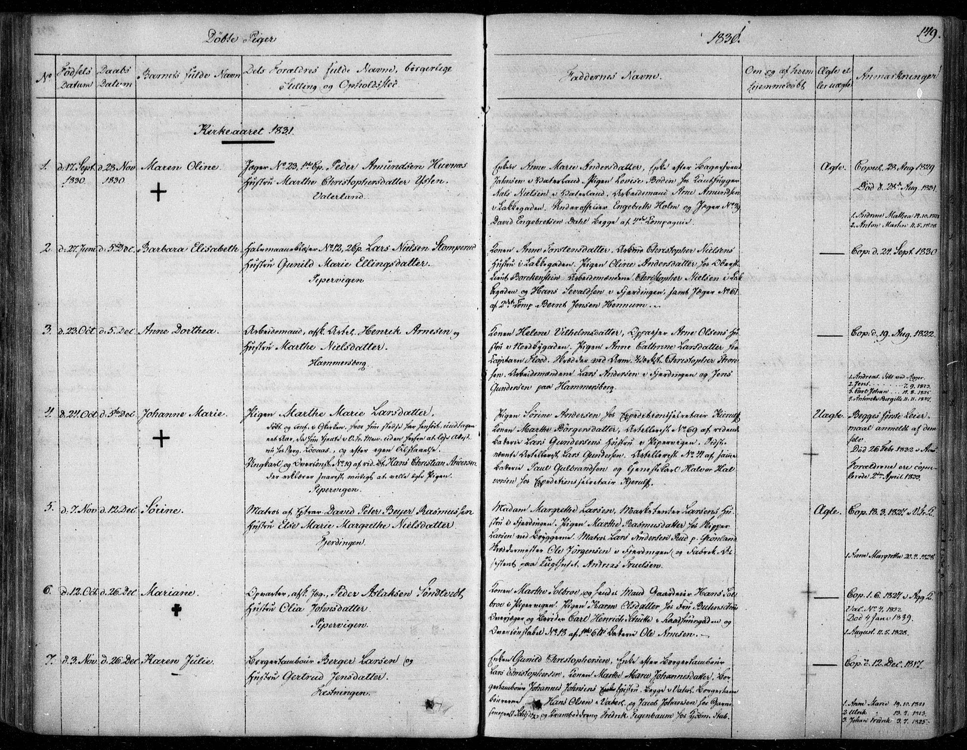 SAO, Garnisonsmenigheten Kirkebøker, F/Fa/L0006: Ministerialbok nr. 6, 1828-1841, s. 149