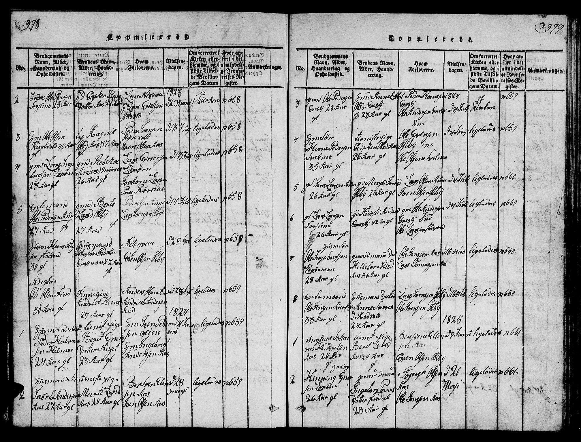 SAT, Ministerialprotokoller, klokkerbøker og fødselsregistre - Sør-Trøndelag, 698/L1164: Klokkerbok nr. 698C01, 1816-1861, s. 378-379