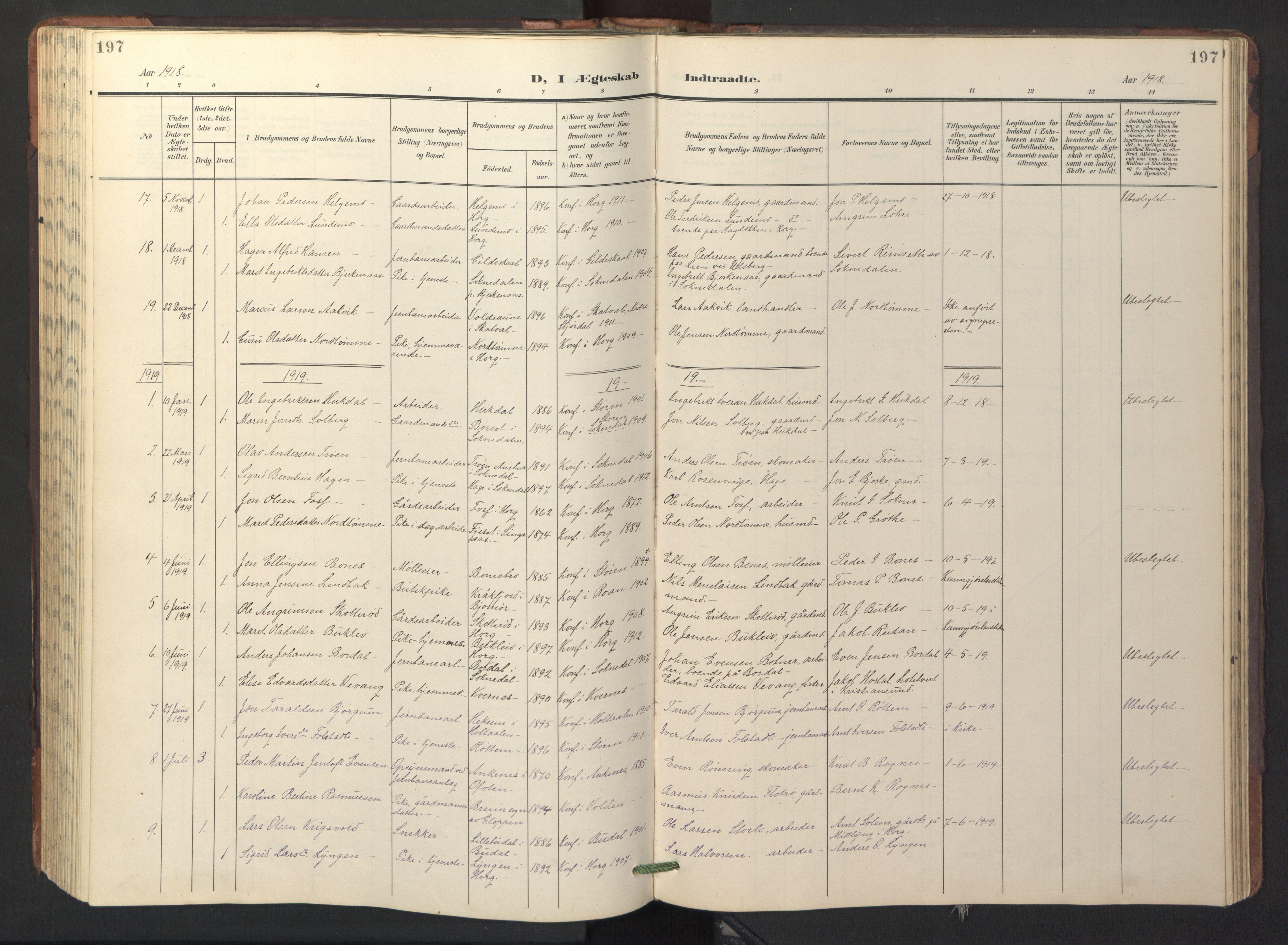 SAT, Ministerialprotokoller, klokkerbøker og fødselsregistre - Sør-Trøndelag, 687/L1019: Klokkerbok nr. 687C03, 1904-1931, s. 197