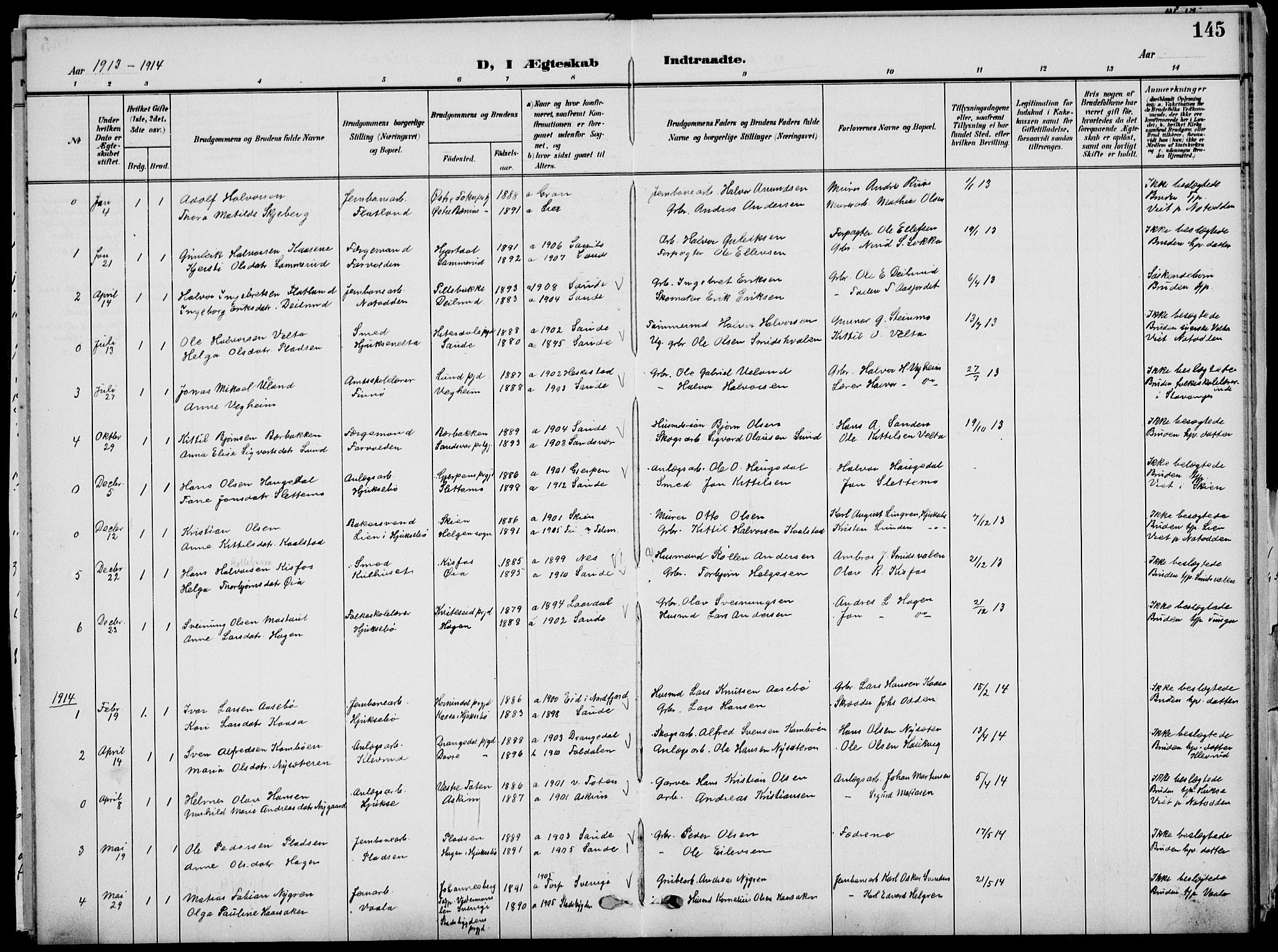 SAKO, Sauherad kirkebøker, G/Ga/L0004a: Klokkerbok nr. I 4, 1906-1934, s. 145