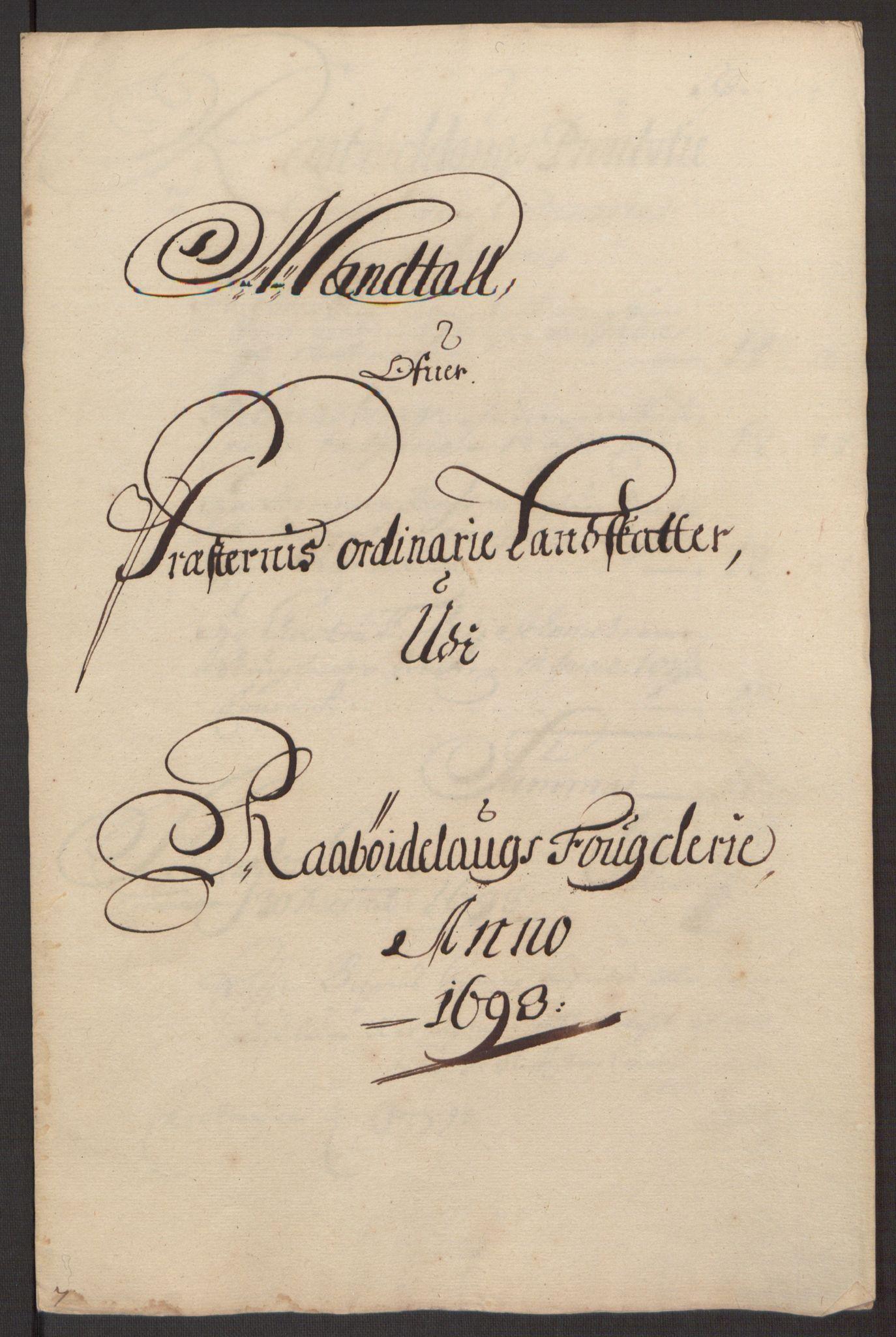 RA, Rentekammeret inntil 1814, Reviderte regnskaper, Fogderegnskap, R40/L2444: Fogderegnskap Råbyggelag, 1693-1696, s. 46