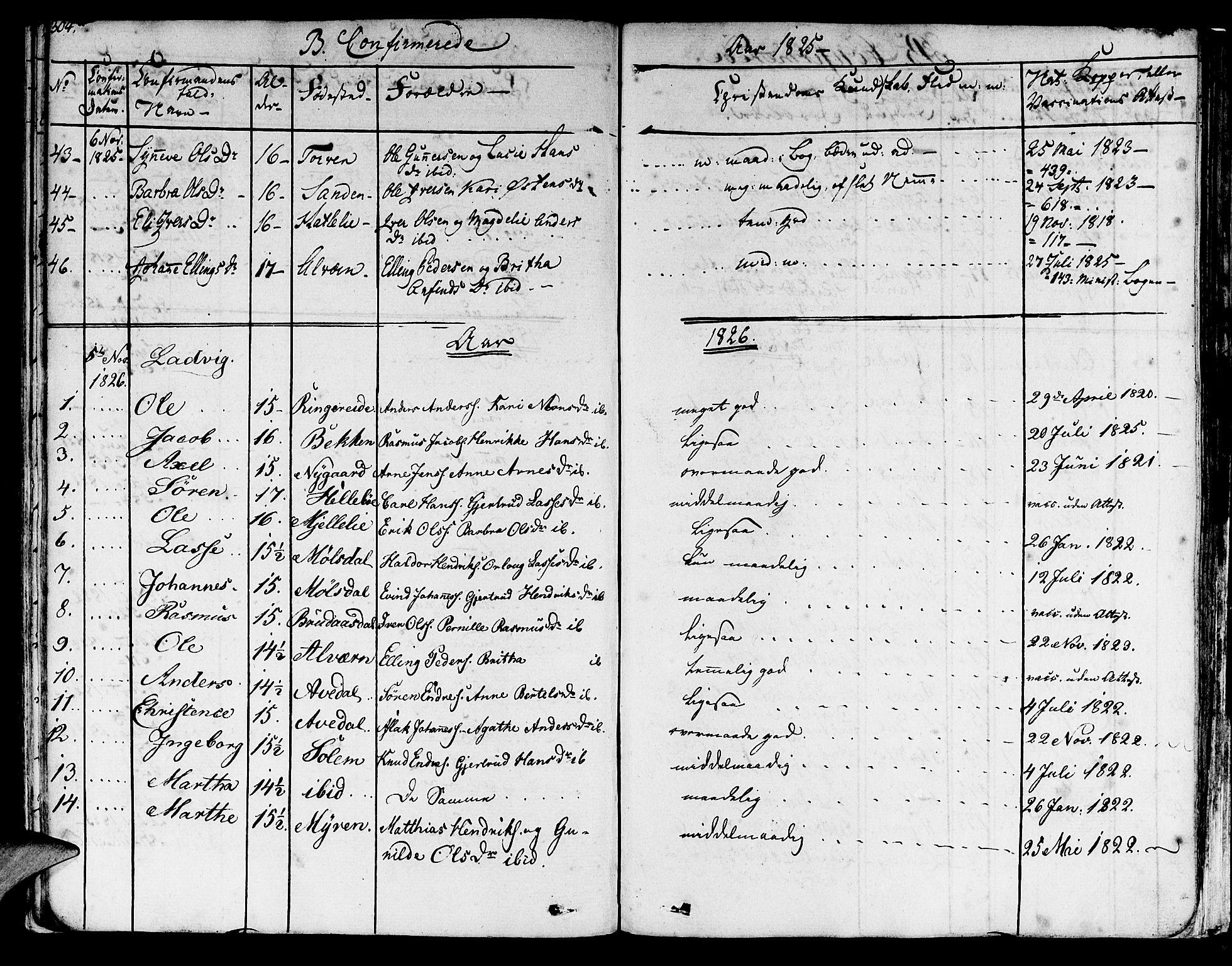 SAB, Lavik sokneprestembete, Ministerialbok nr. A 2I, 1821-1842, s. 304
