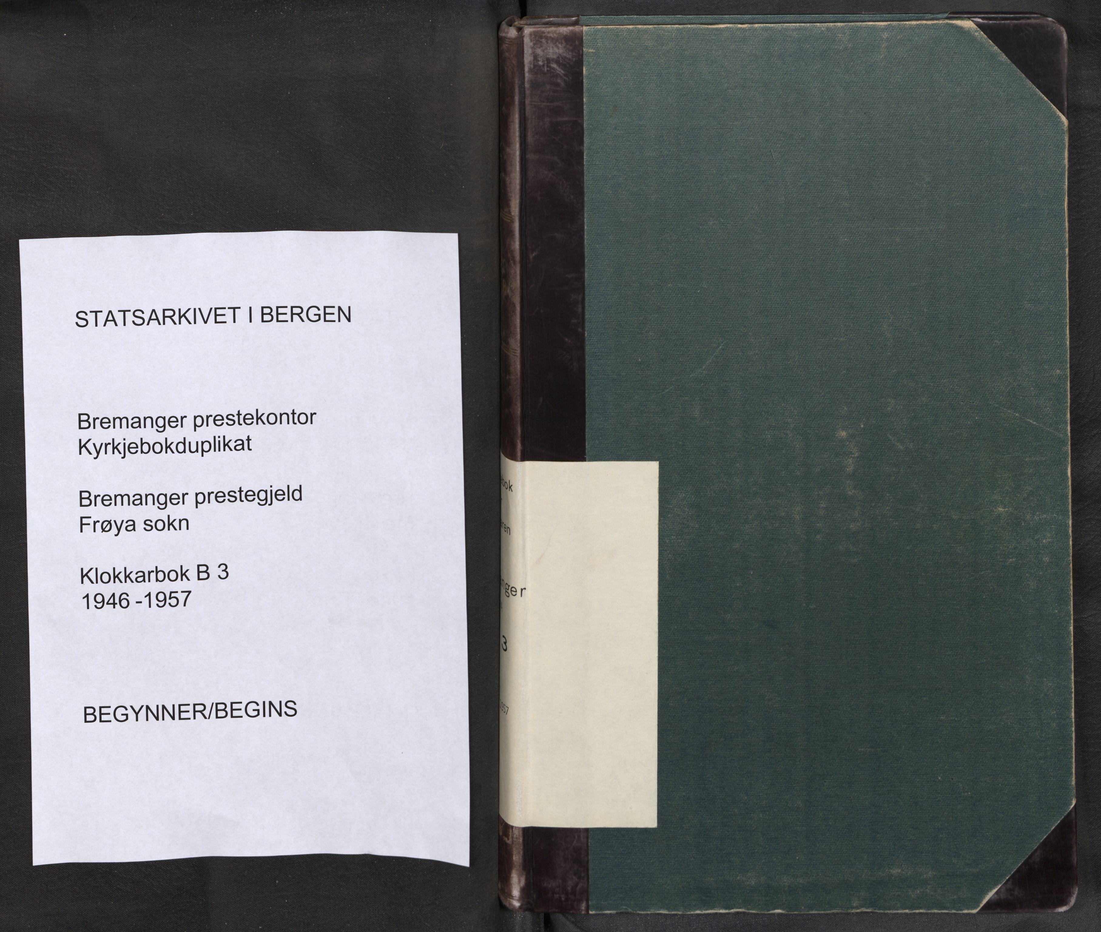 SAB, Bremanger Sokneprestembete, H/Hab: Klokkerbok nr. B 3, 1946-1957