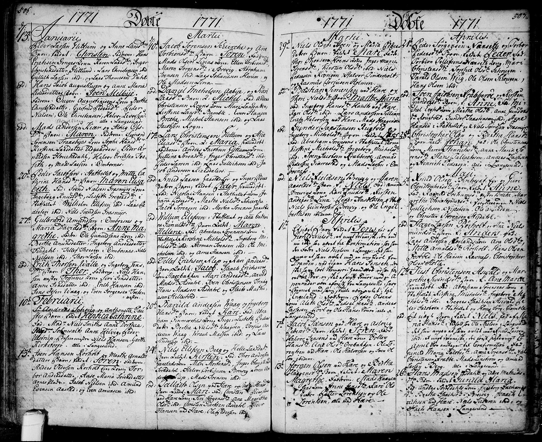 SAKO, Bamble kirkebøker, F/Fa/L0001: Ministerialbok nr. I 1, 1702-1774, s. 506-507