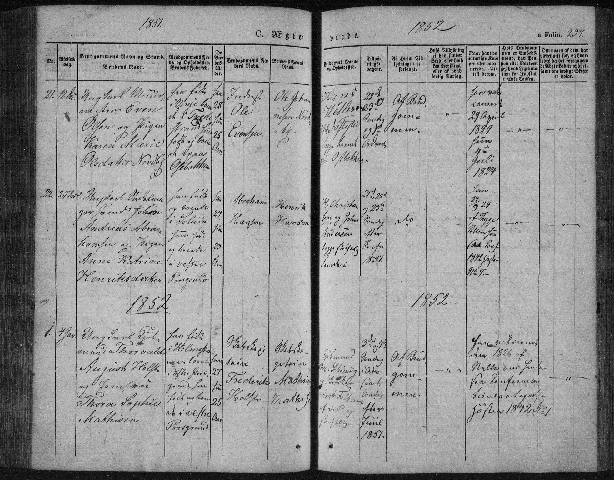 SAKO, Porsgrunn kirkebøker , F/Fa/L0006: Ministerialbok nr. 6, 1841-1857, s. 297