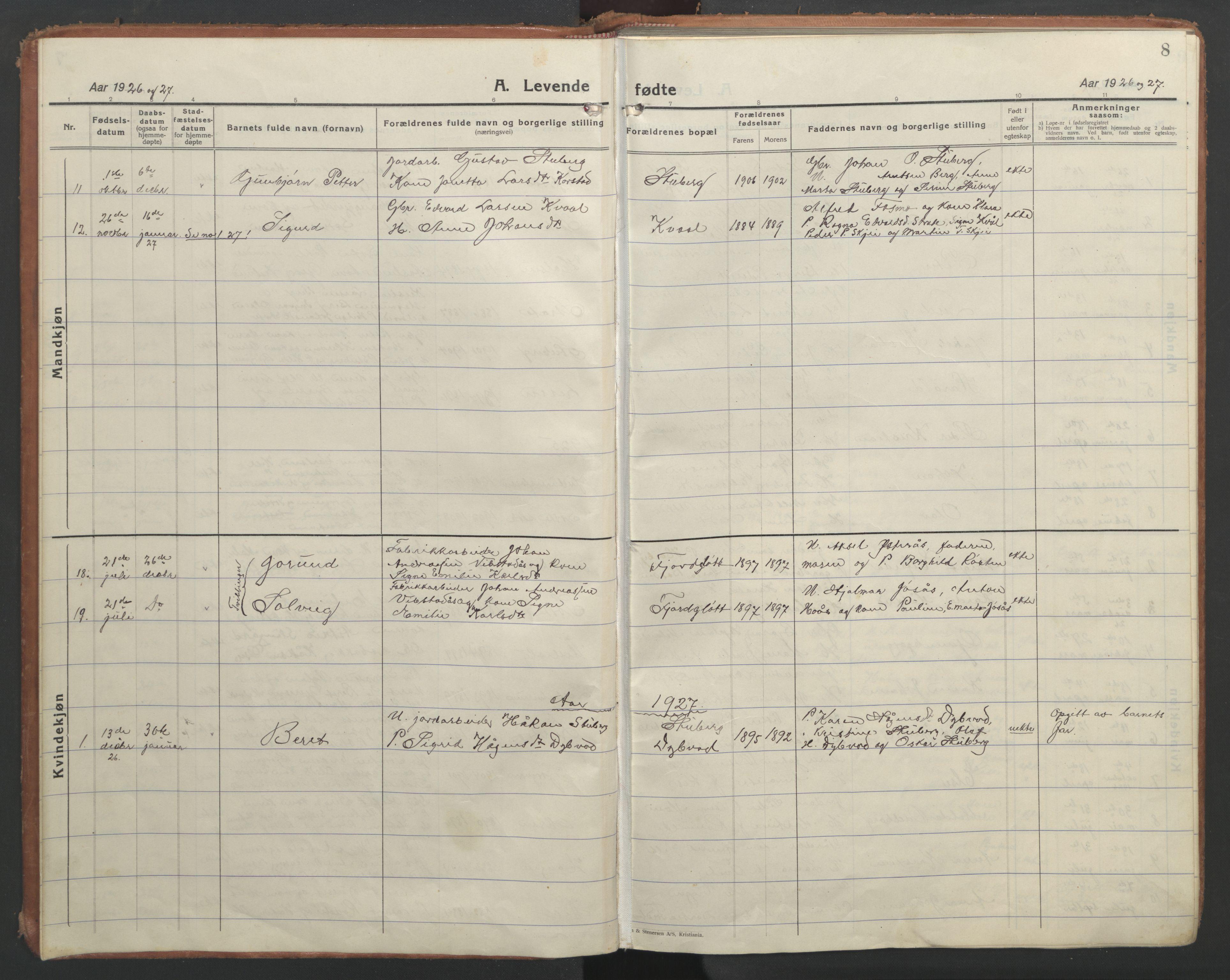SAT, Ministerialprotokoller, klokkerbøker og fødselsregistre - Nord-Trøndelag, 710/L0097: Klokkerbok nr. 710C02, 1925-1955, s. 8
