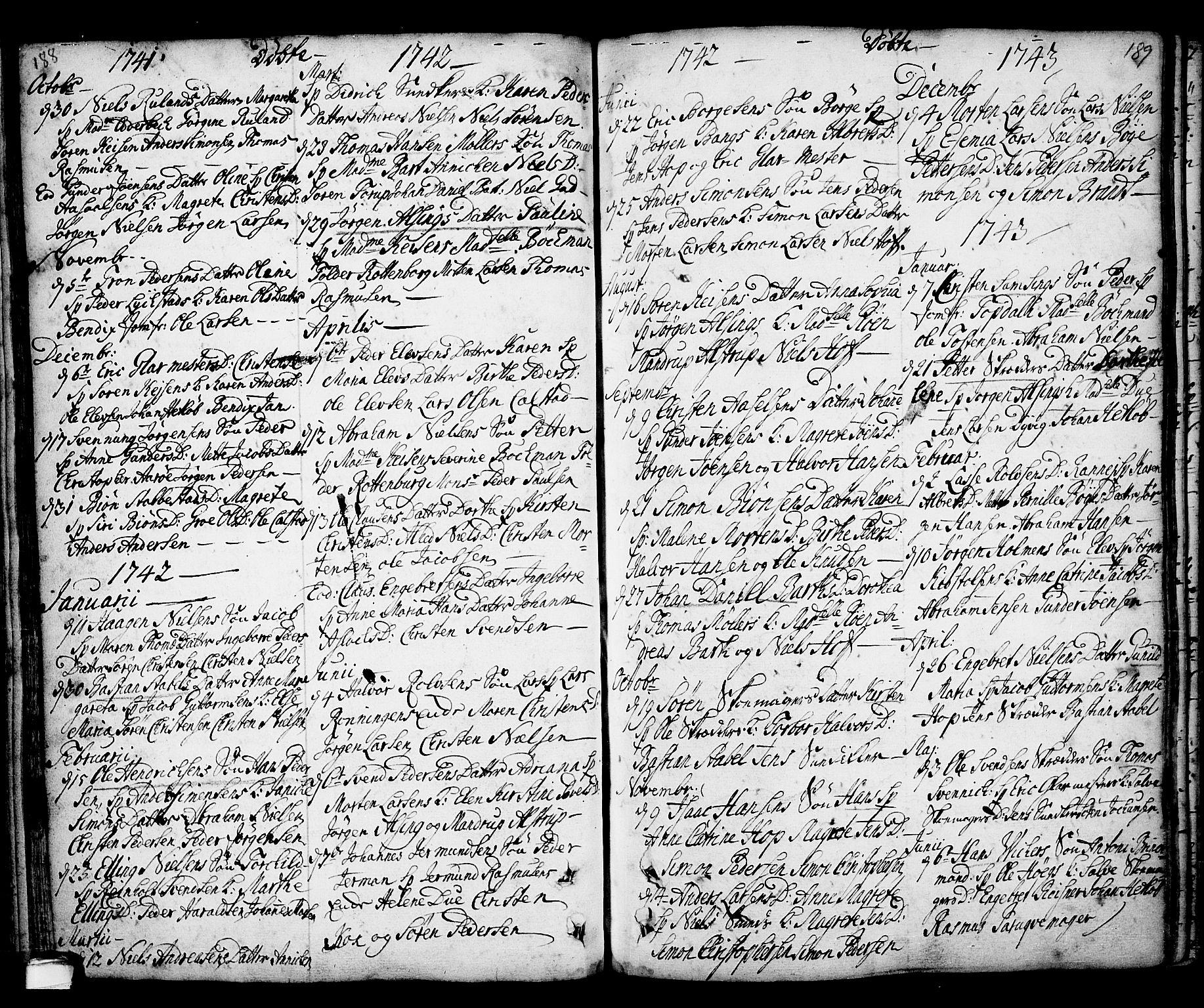 SAKO, Kragerø kirkebøker, F/Fa/L0001: Ministerialbok nr. 1, 1702-1766, s. 188-189
