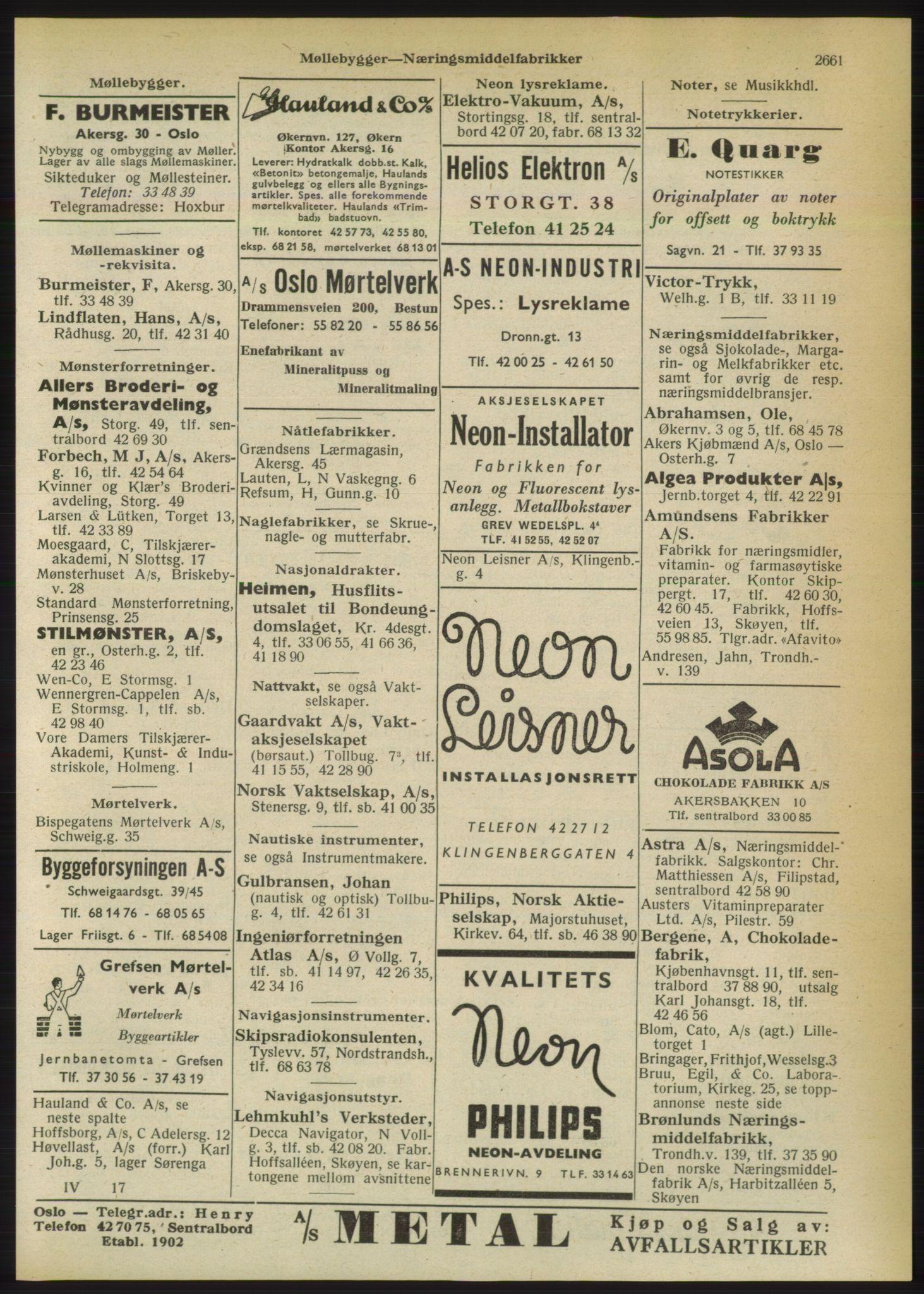 PUBL, Kristiania/Oslo adressebok, 1950, s. 2661