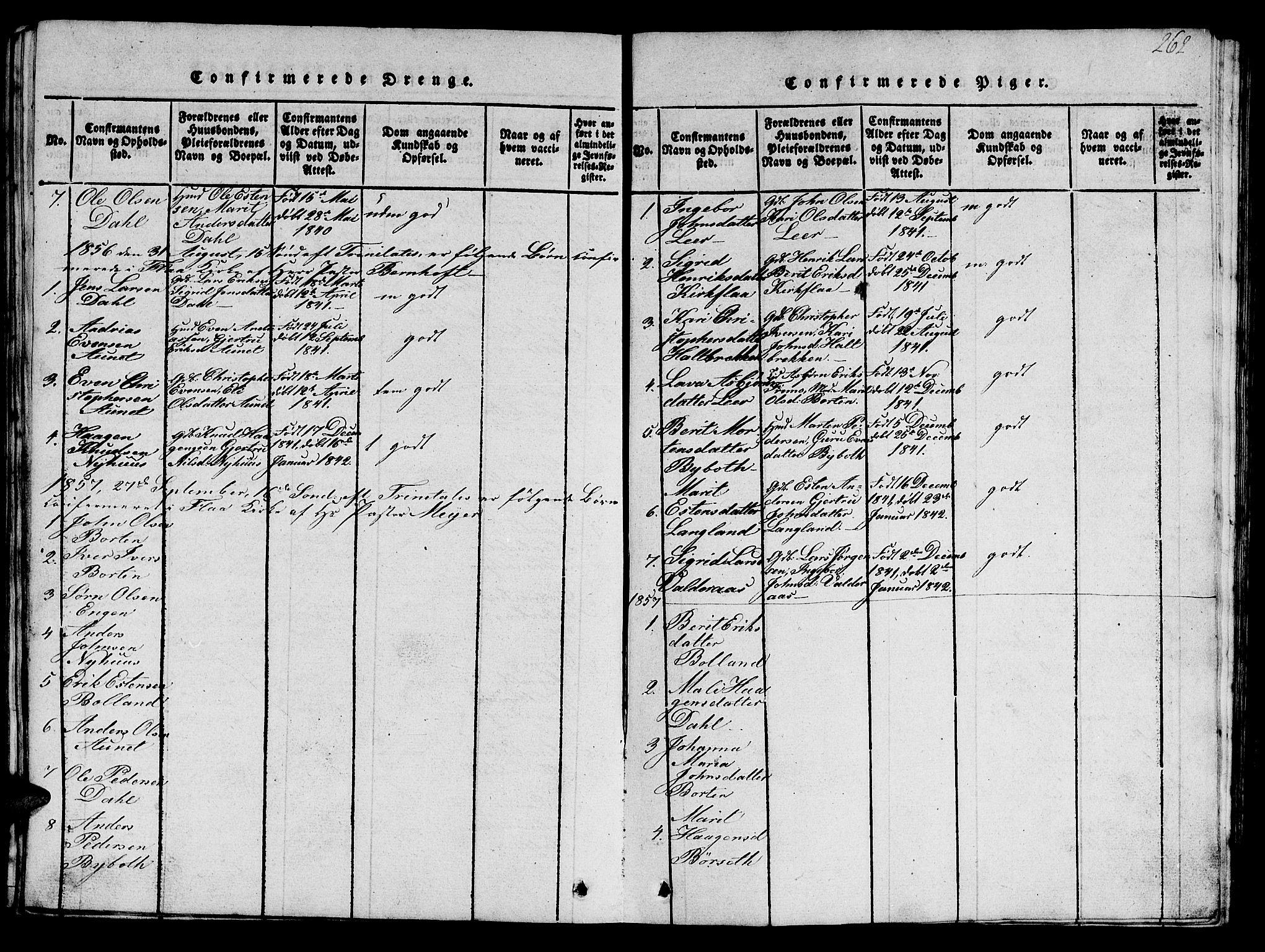 SAT, Ministerialprotokoller, klokkerbøker og fødselsregistre - Sør-Trøndelag, 693/L1121: Klokkerbok nr. 693C02, 1816-1869, s. 262