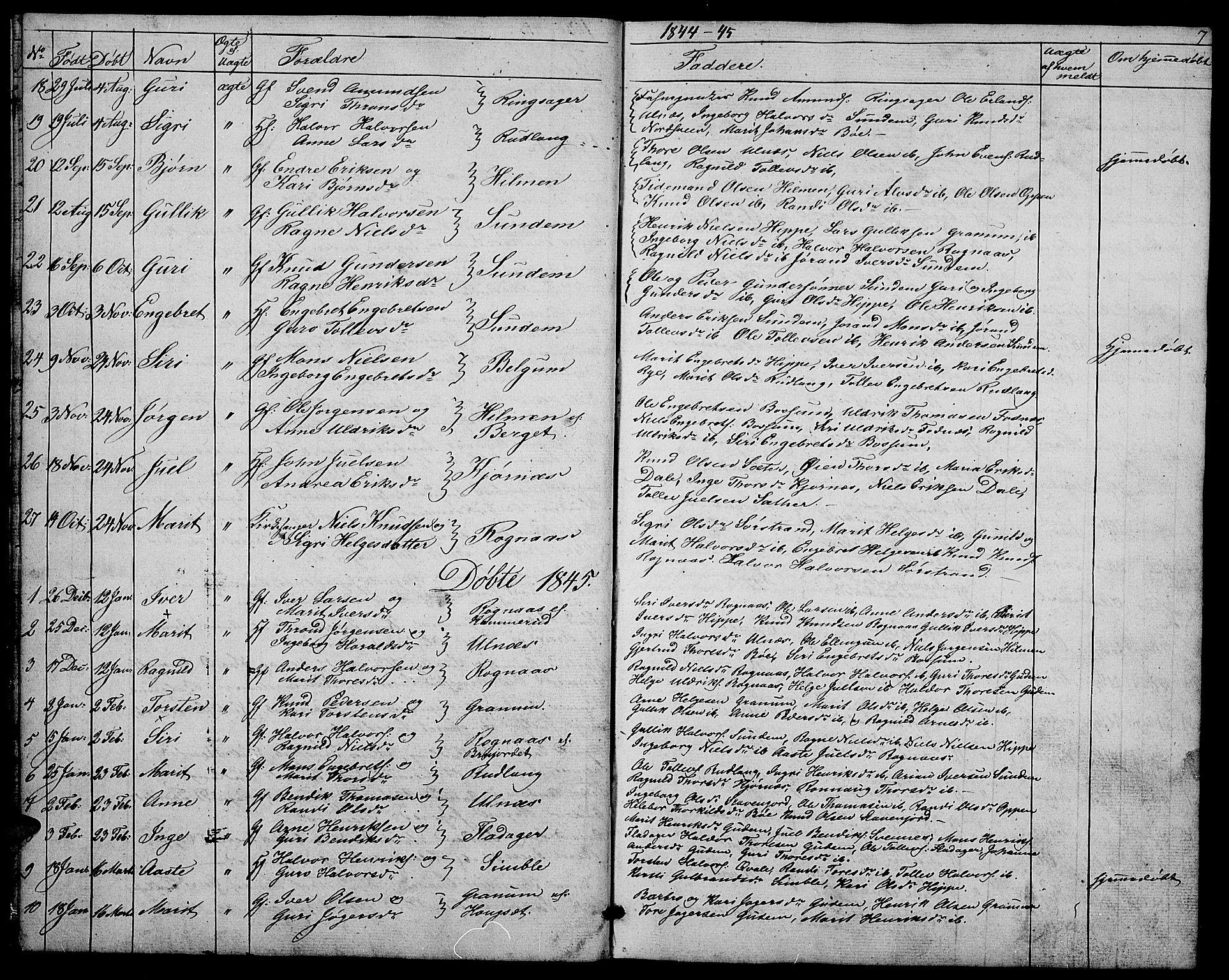 SAH, Nord-Aurdal prestekontor, Klokkerbok nr. 4, 1842-1882, s. 7