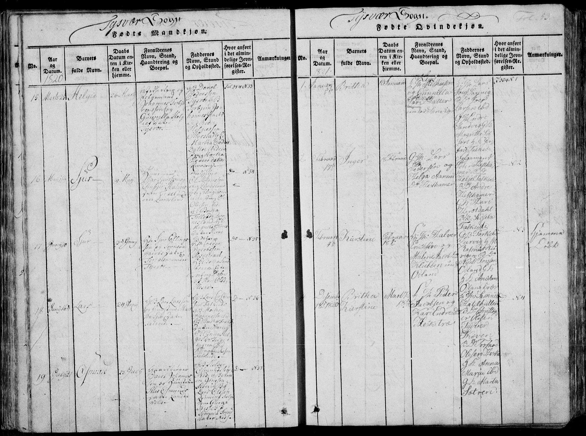 SAST, Skjold sokneprestkontor, H/Ha/Haa/L0004: Ministerialbok nr. A 4 /1, 1815-1830, s. 53