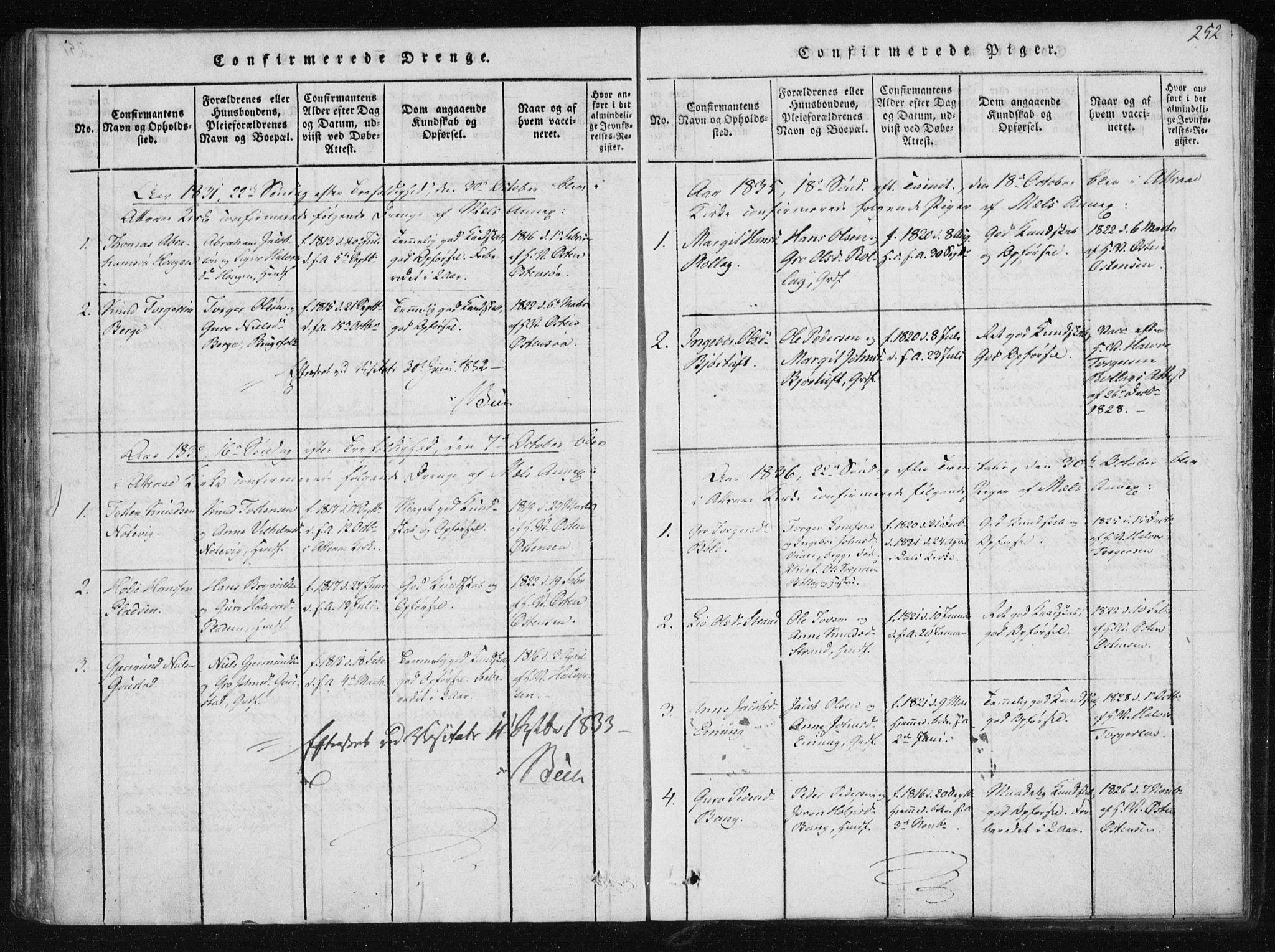 SAKO, Tinn kirkebøker, F/Fb/L0001: Ministerialbok nr. II 1, 1815-1843, s. 252