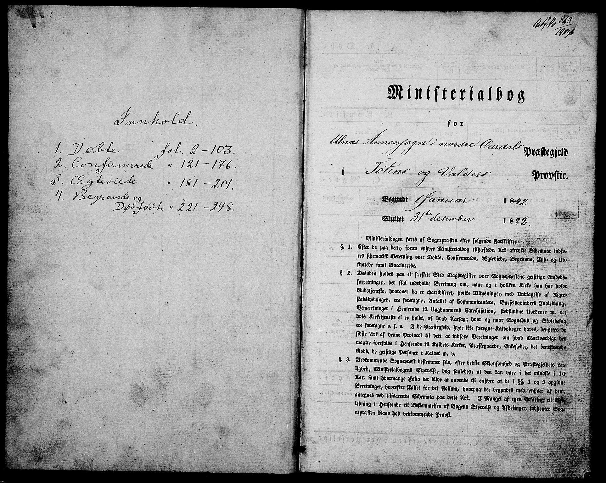 SAH, Nord-Aurdal prestekontor, Klokkerbok nr. 4, 1842-1882