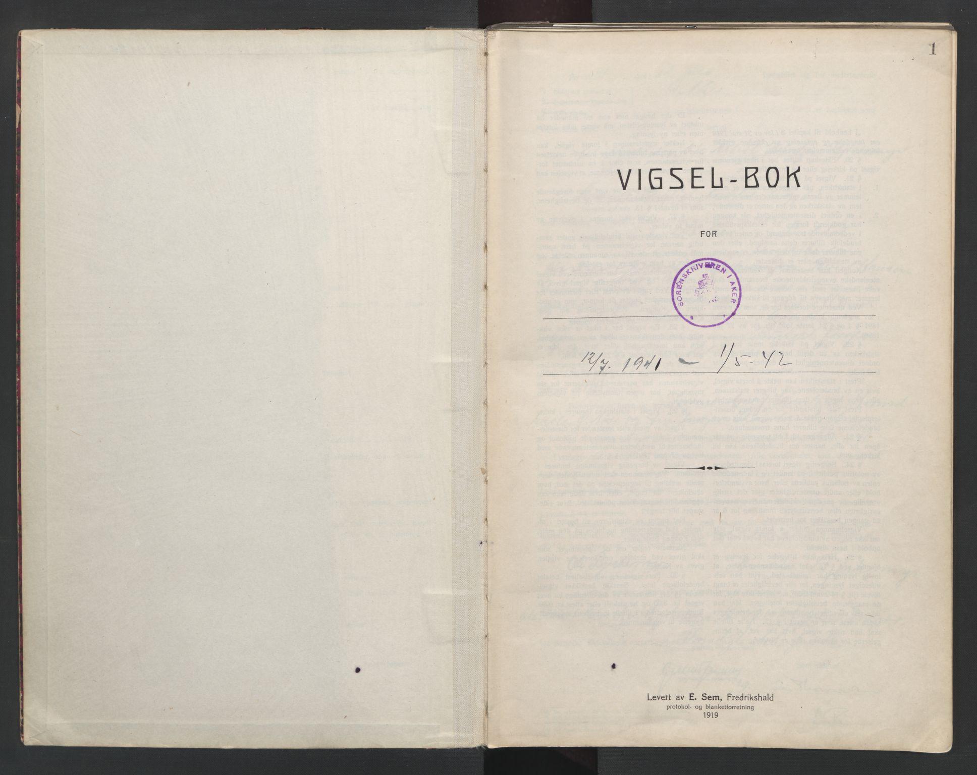 SAO, Aker sorenskriveri, L/Lc/Lcb/L0014: Vigselprotokoll, 1941-1942, s. 1
