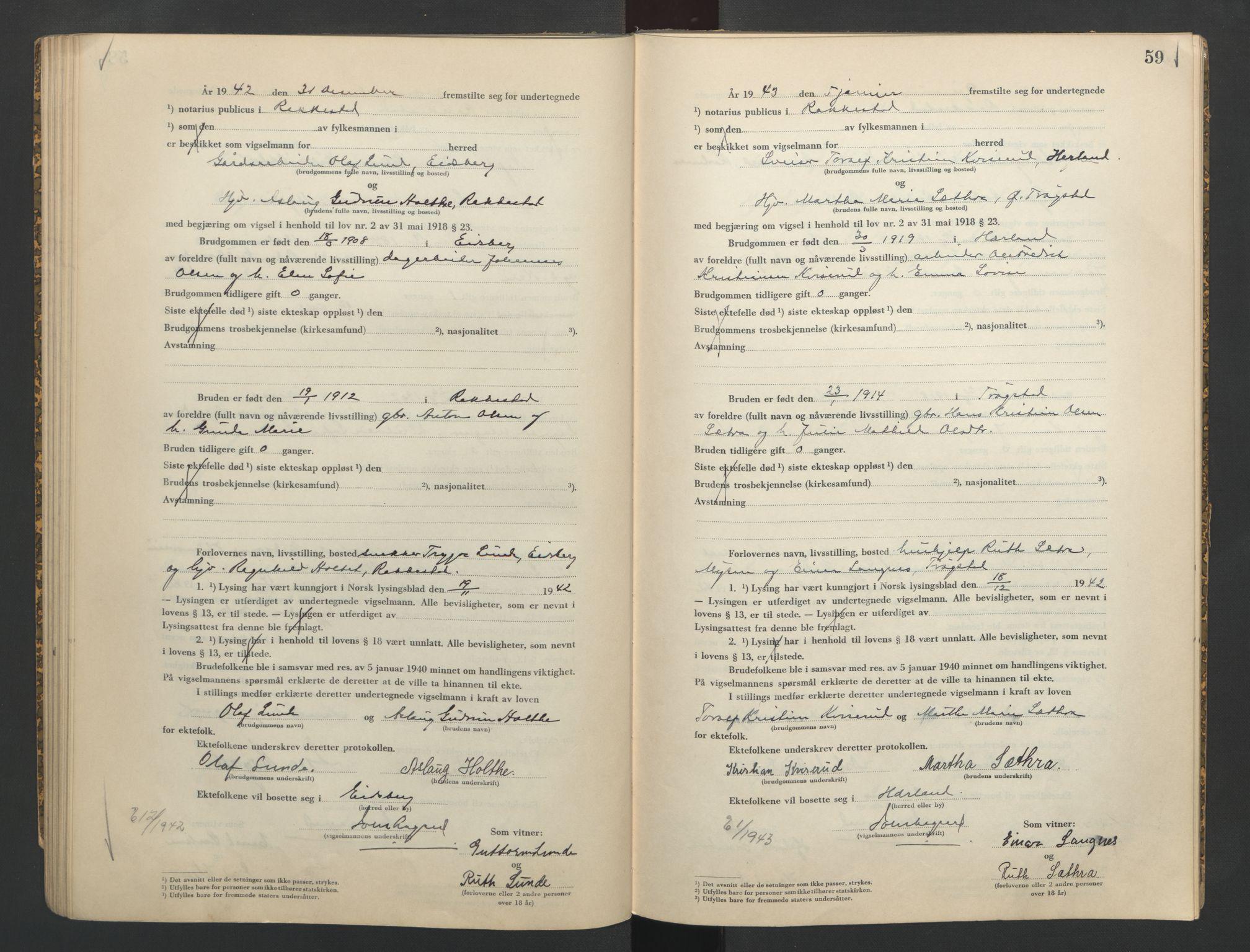 SAO, Rakkestad sorenskriveri, L/Lc/Lca/L0002: Vigselbøker, 1942-1943, s. 59