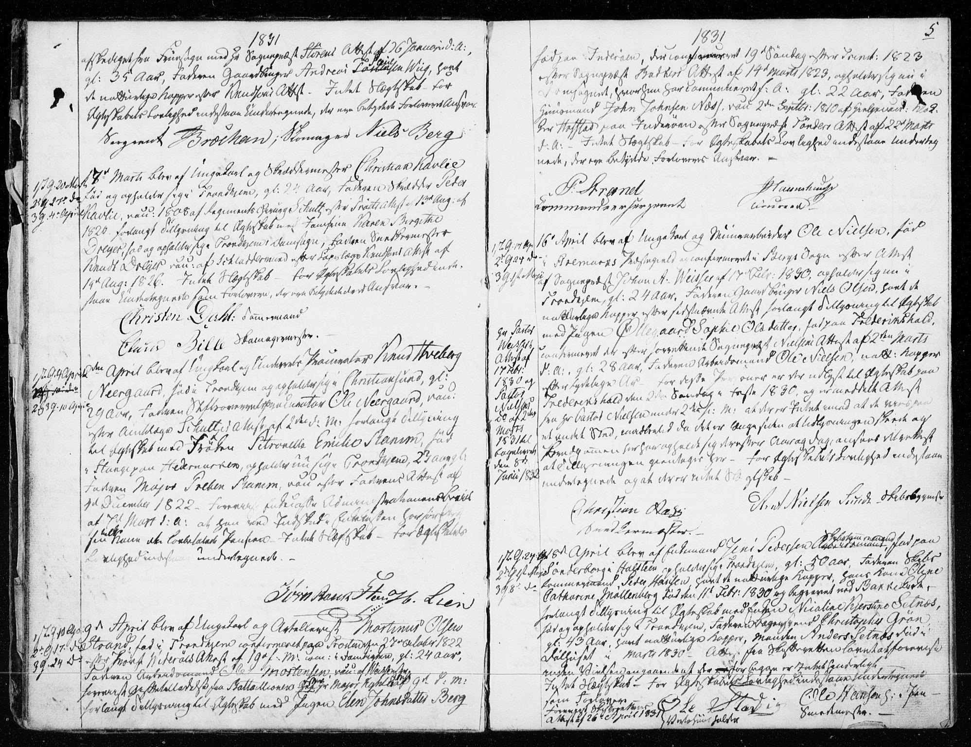 SAT, Ministerialprotokoller, klokkerbøker og fødselsregistre - Sør-Trøndelag, 601/L0046: Ministerialbok nr. 601A14, 1830-1841, s. 5