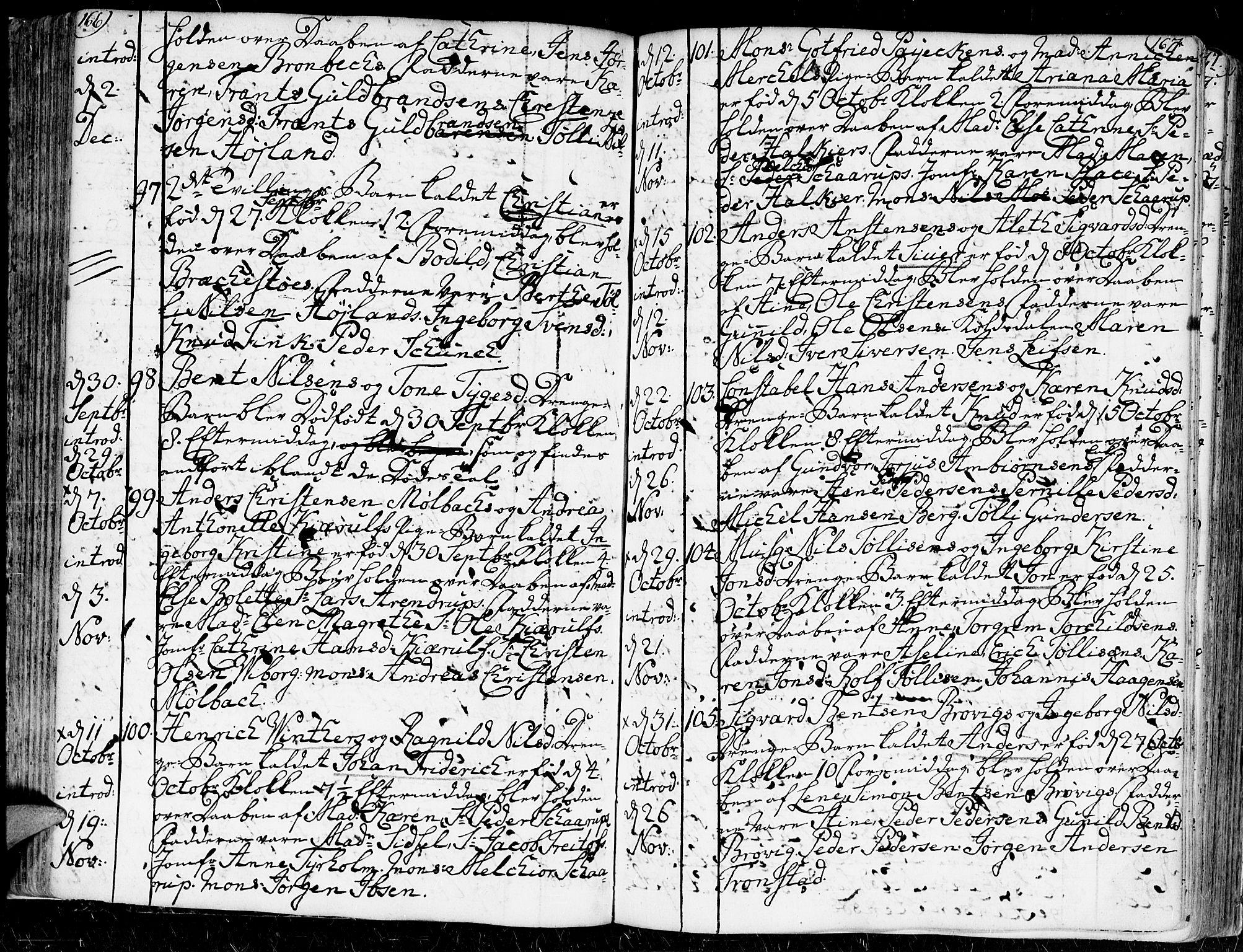 SAK, Kristiansand domprosti, F/Fa/L0002: Ministerialbok nr. A 2, 1755-1778, s. 166-167