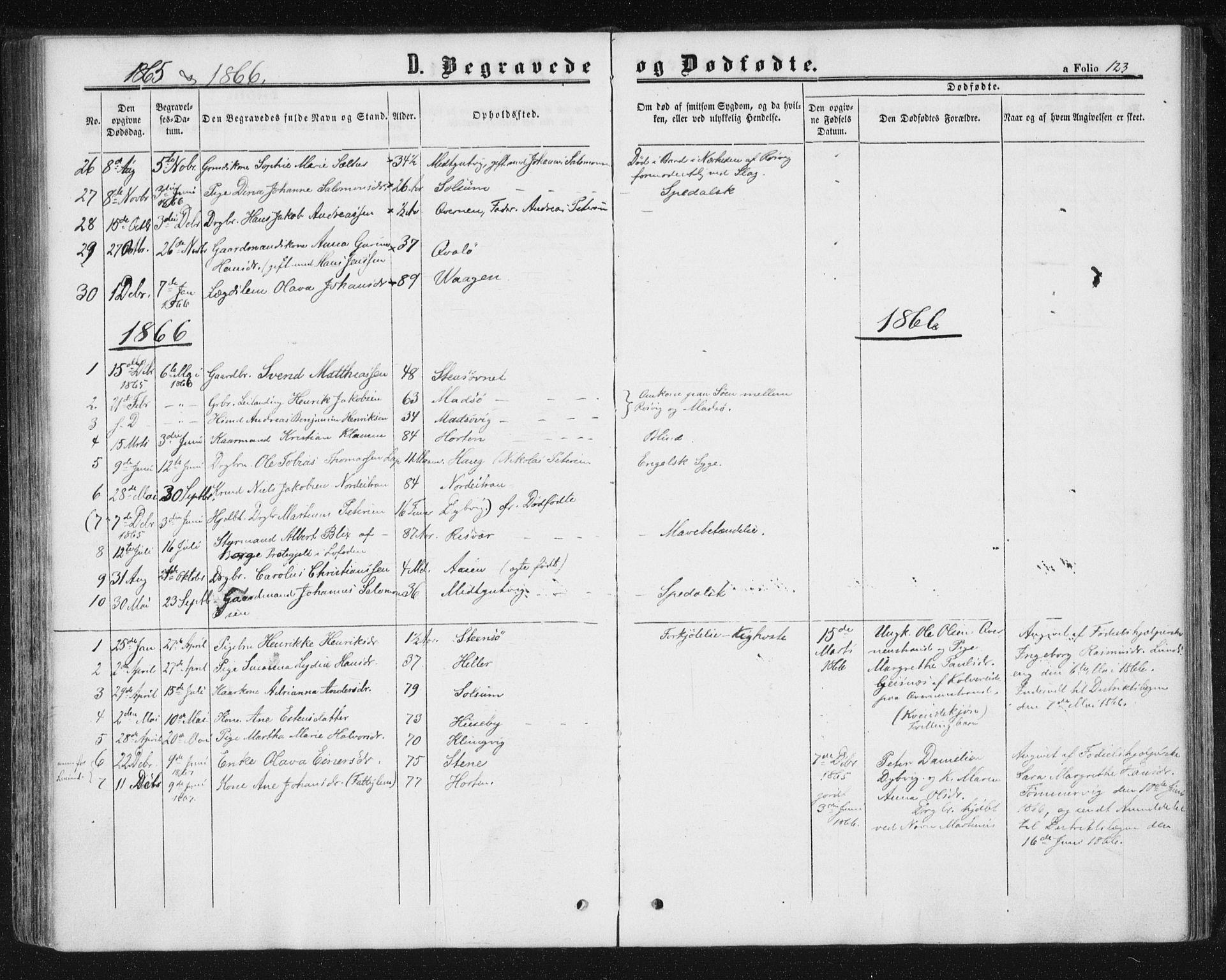 SAT, Ministerialprotokoller, klokkerbøker og fødselsregistre - Nord-Trøndelag, 788/L0696: Ministerialbok nr. 788A03, 1863-1877, s. 123