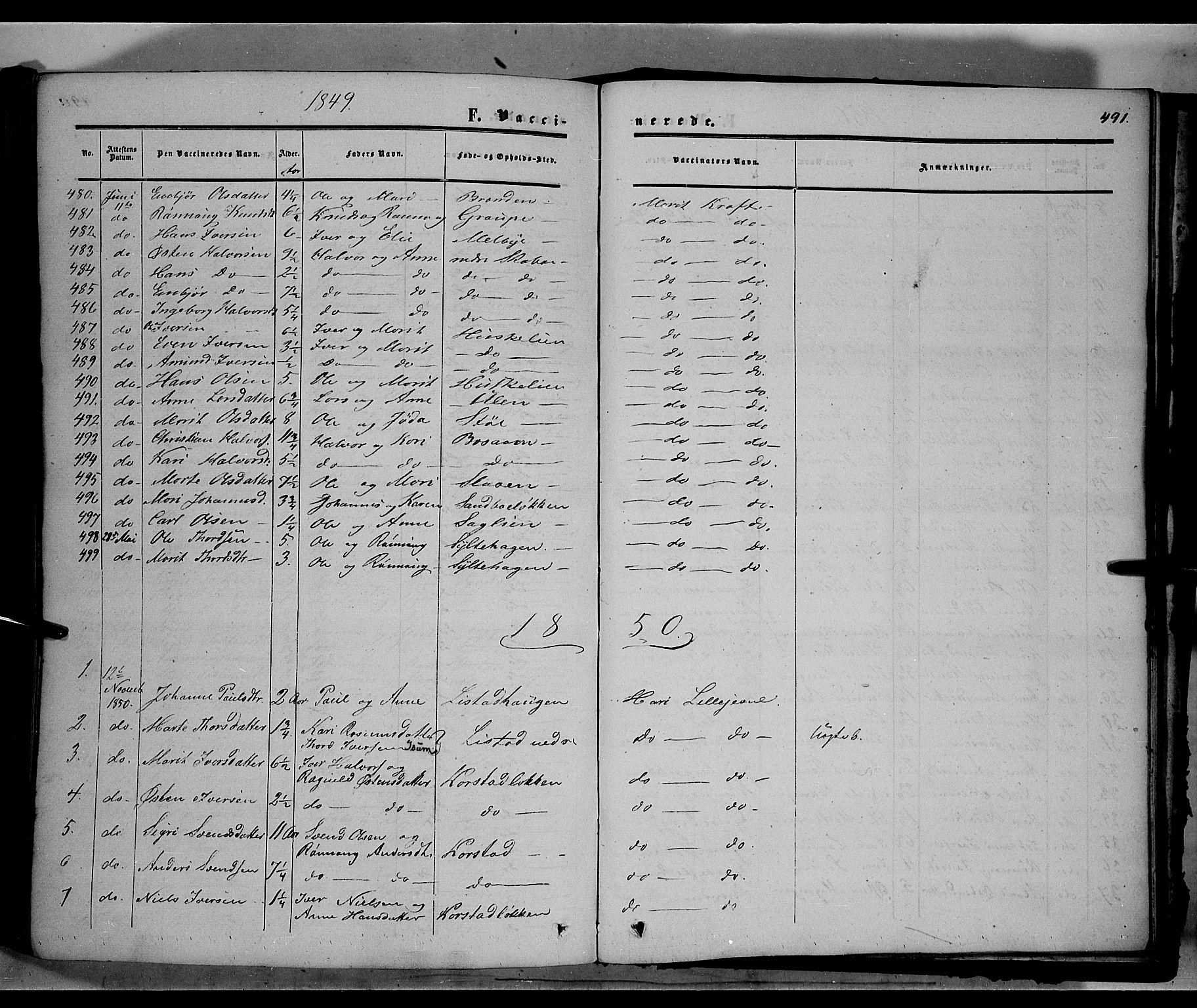 SAH, Sør-Fron prestekontor, H/Ha/Haa/L0001: Ministerialbok nr. 1, 1849-1863, s. 491
