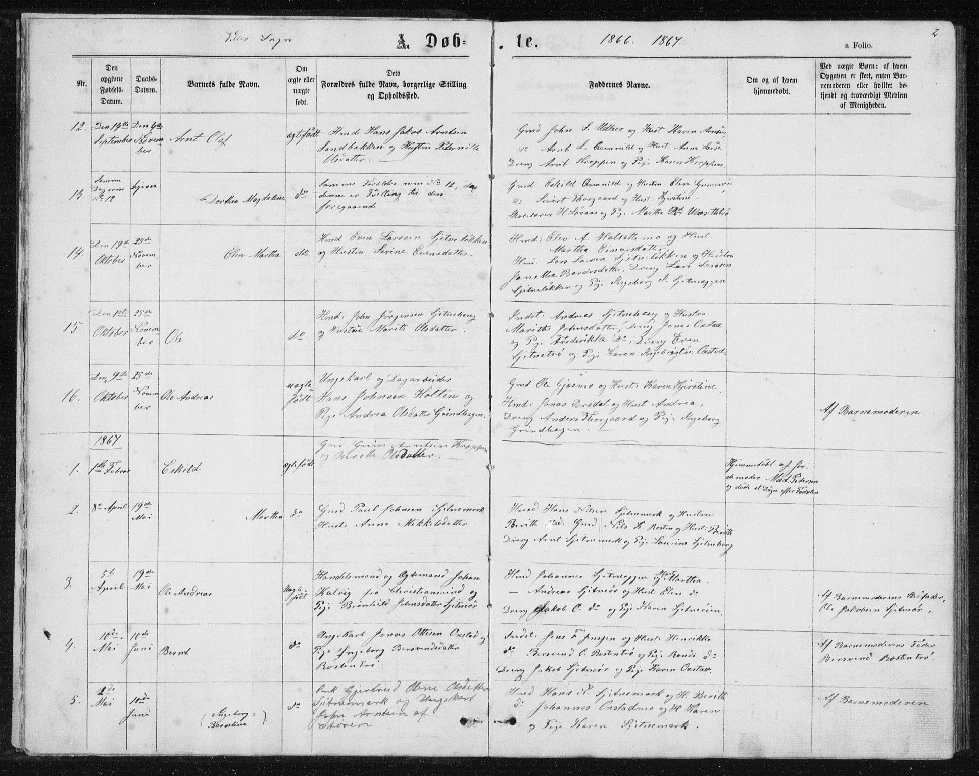 SAT, Ministerialprotokoller, klokkerbøker og fødselsregistre - Sør-Trøndelag, 621/L0459: Klokkerbok nr. 621C02, 1866-1895, s. 2