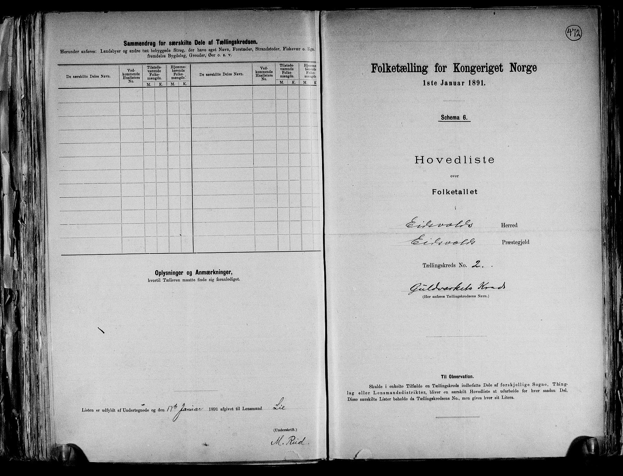 RA, Folketelling 1891 for 0237 Eidsvoll herred, 1891, s. 9