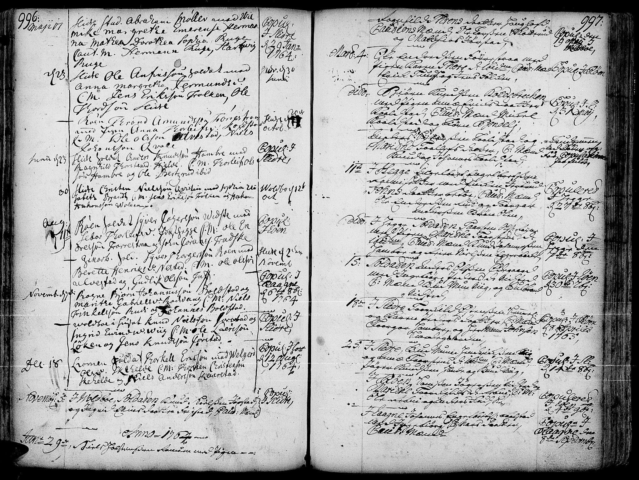 SAH, Slidre prestekontor, Ministerialbok nr. 1, 1724-1814, s. 996-997