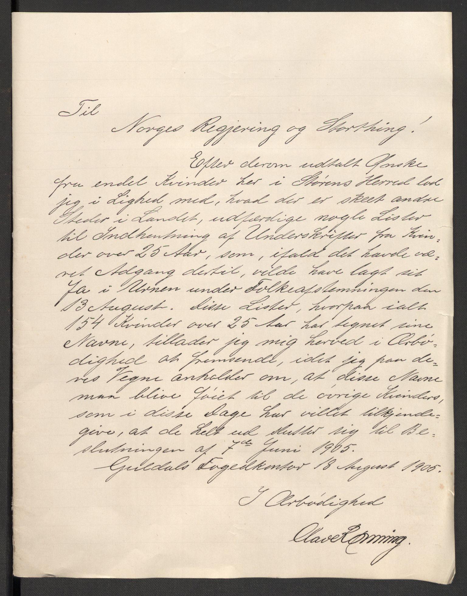 RA, Justisdepartementet, 2. sivilkontor C, F/L0125B: Folkeavstemmingen august 1905, 1905, s. 2