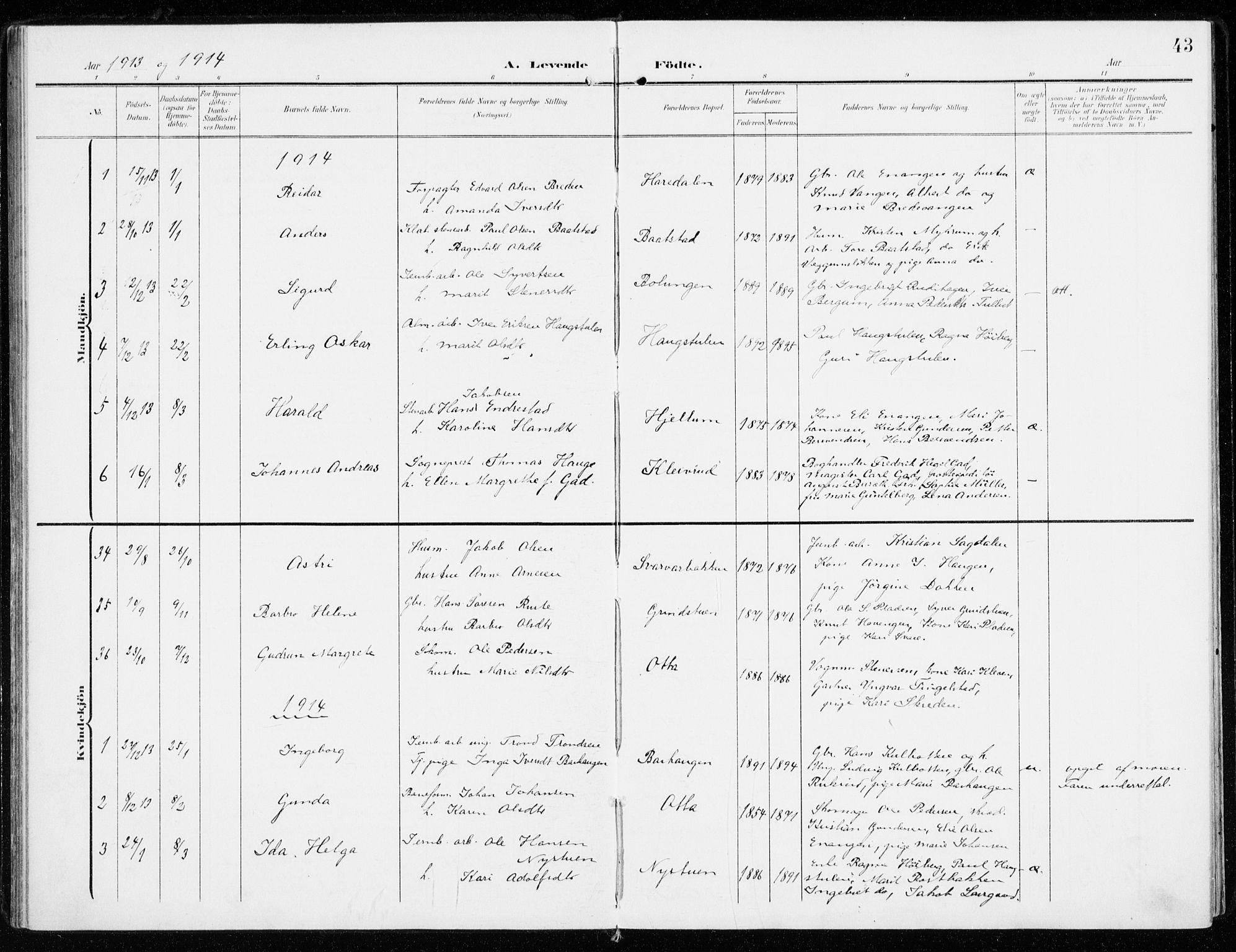 SAH, Sel prestekontor, Ministerialbok nr. 2, 1905-1919, s. 43